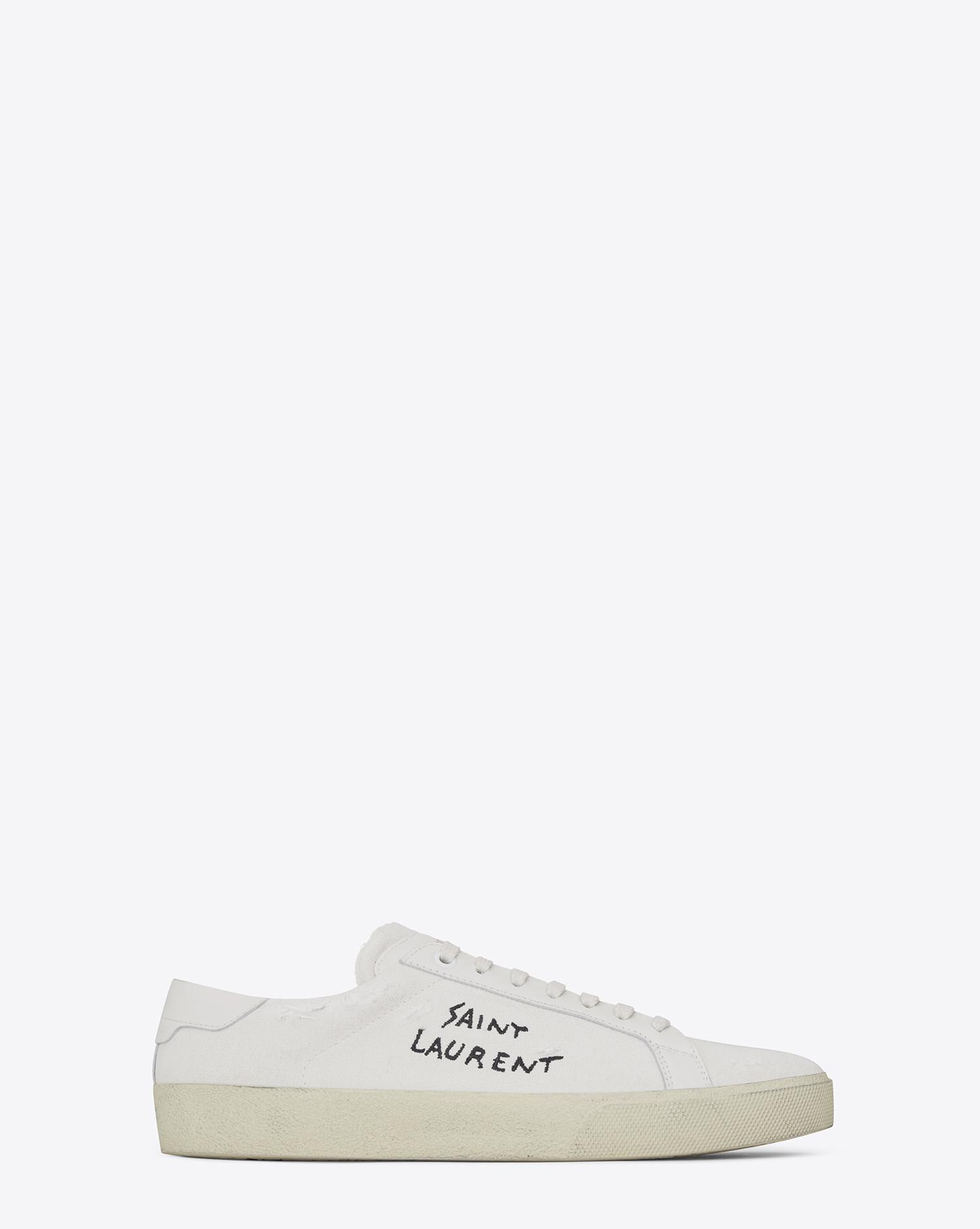 Sl/06 Court Classic Distressed Leather-trimmed Embroidered Canvas Sneakers Saint Laurent Sale Cheap Price xbkSfzZH
