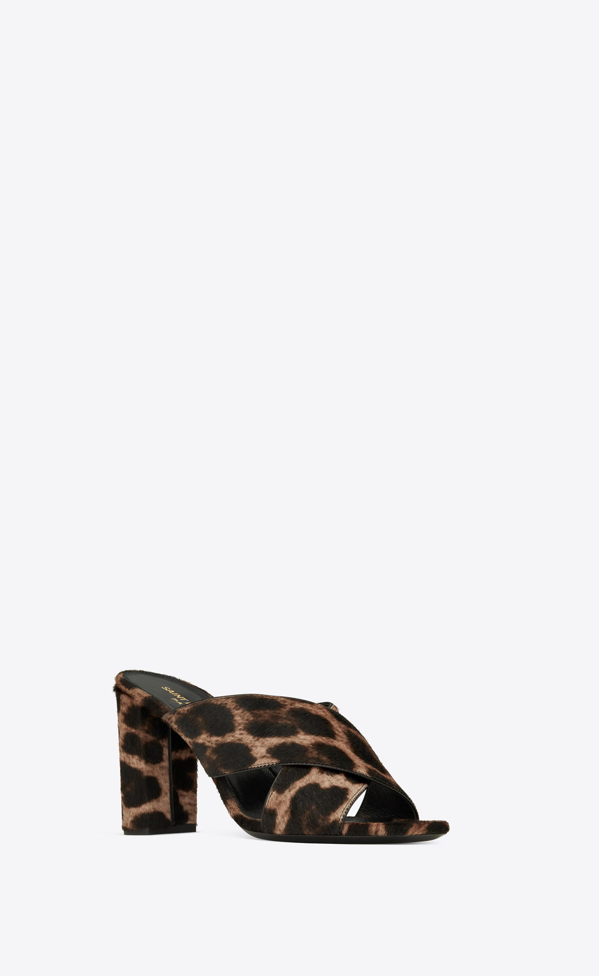 71f9007b12 Saint Laurent Loulou Mule In Leopard Printed Pony Effect Leather in ...
