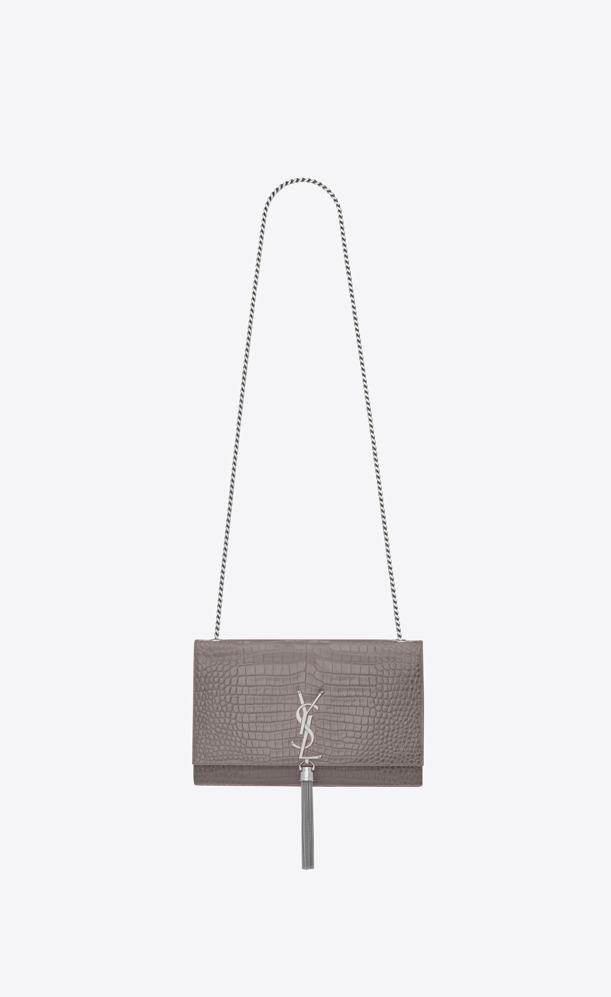2cdb49b6379e5 Lyst - Saint Laurent Classic Medium Kate Monogram Tassel Croc ...