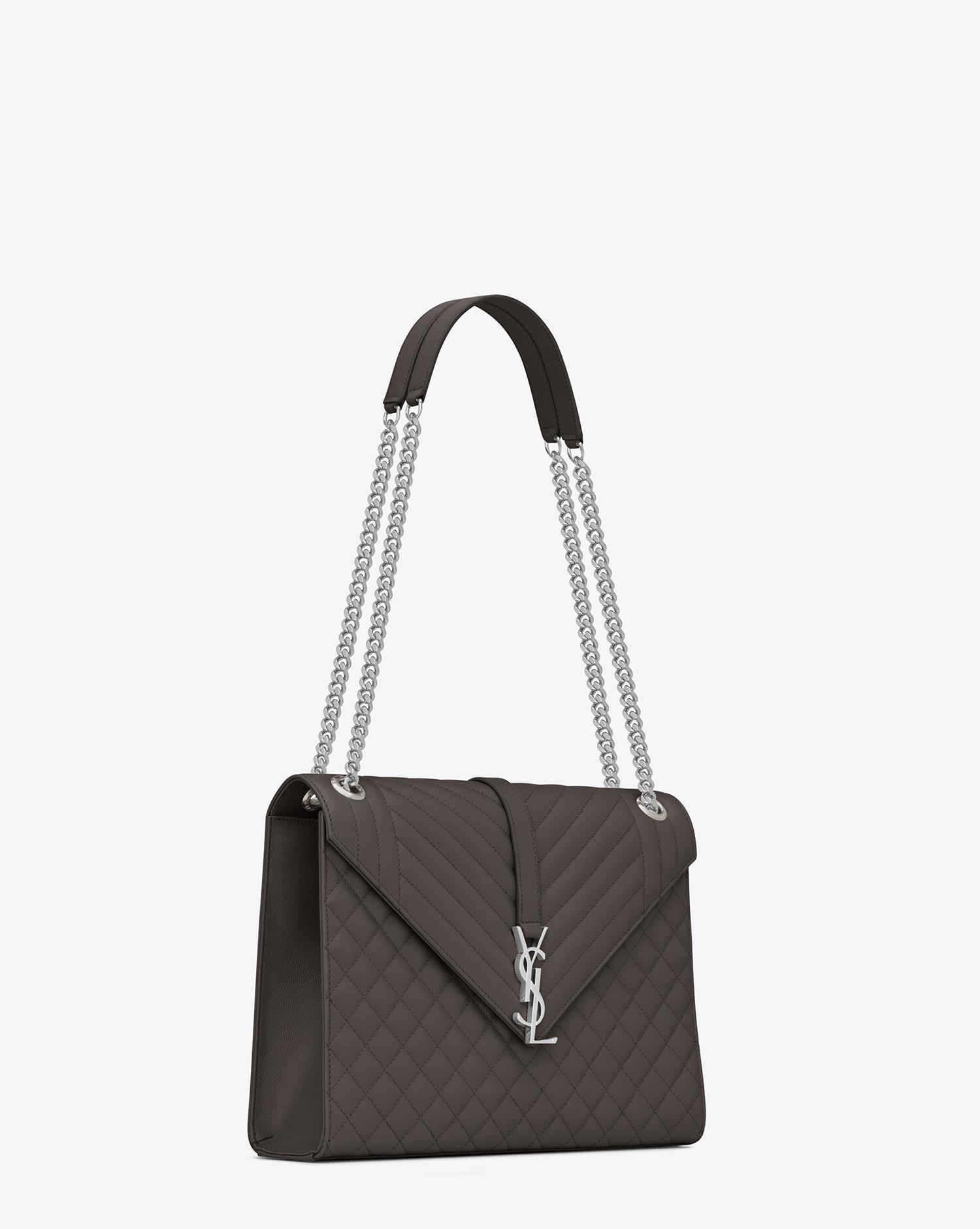 c35ddeb40a Saint Laurent Large Envelope Chain Bag In Grey Textured Mixed ...