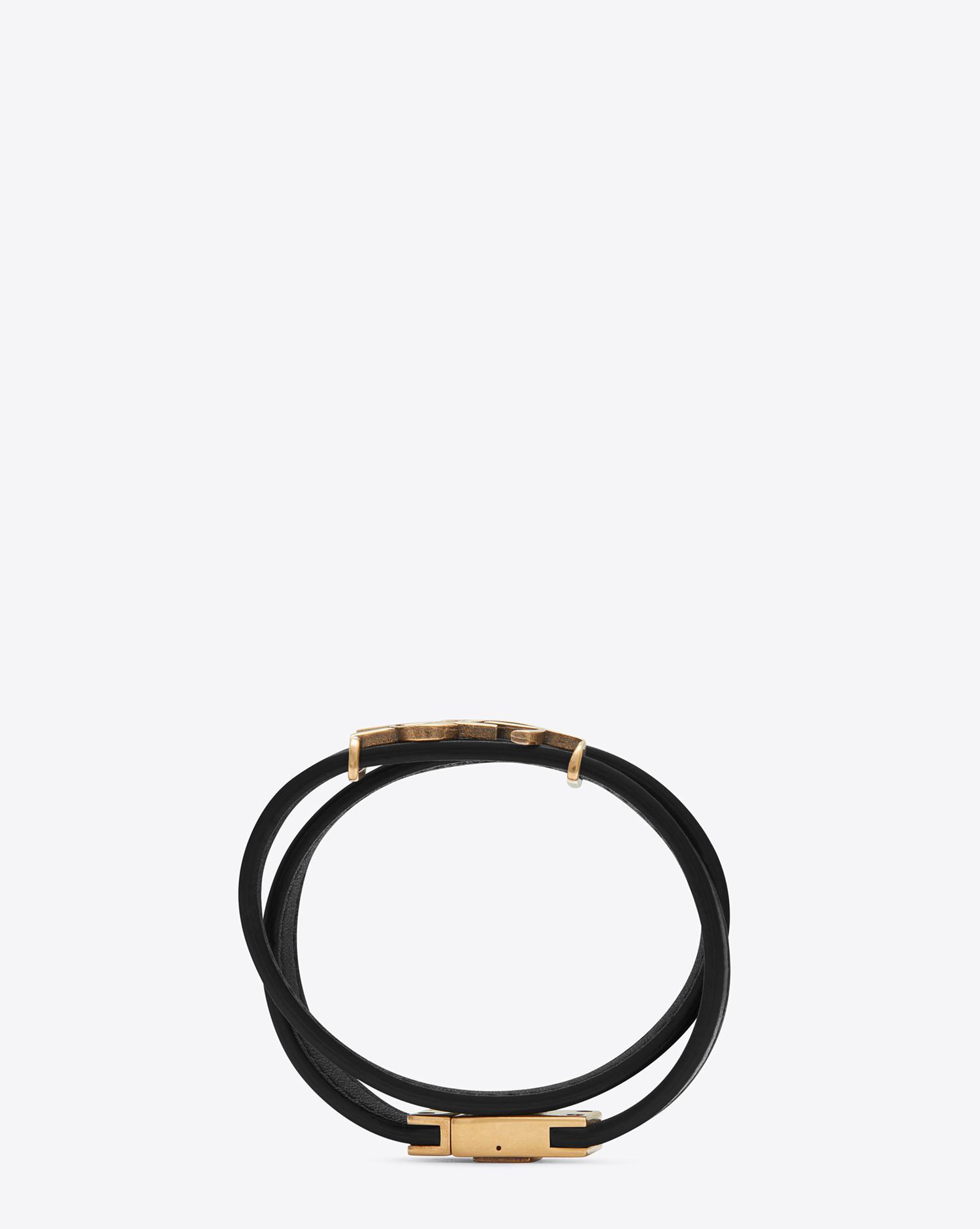 c28168de4da Saint Laurent Ysl Double Wrap Bracelet In Black Leather And Light ...