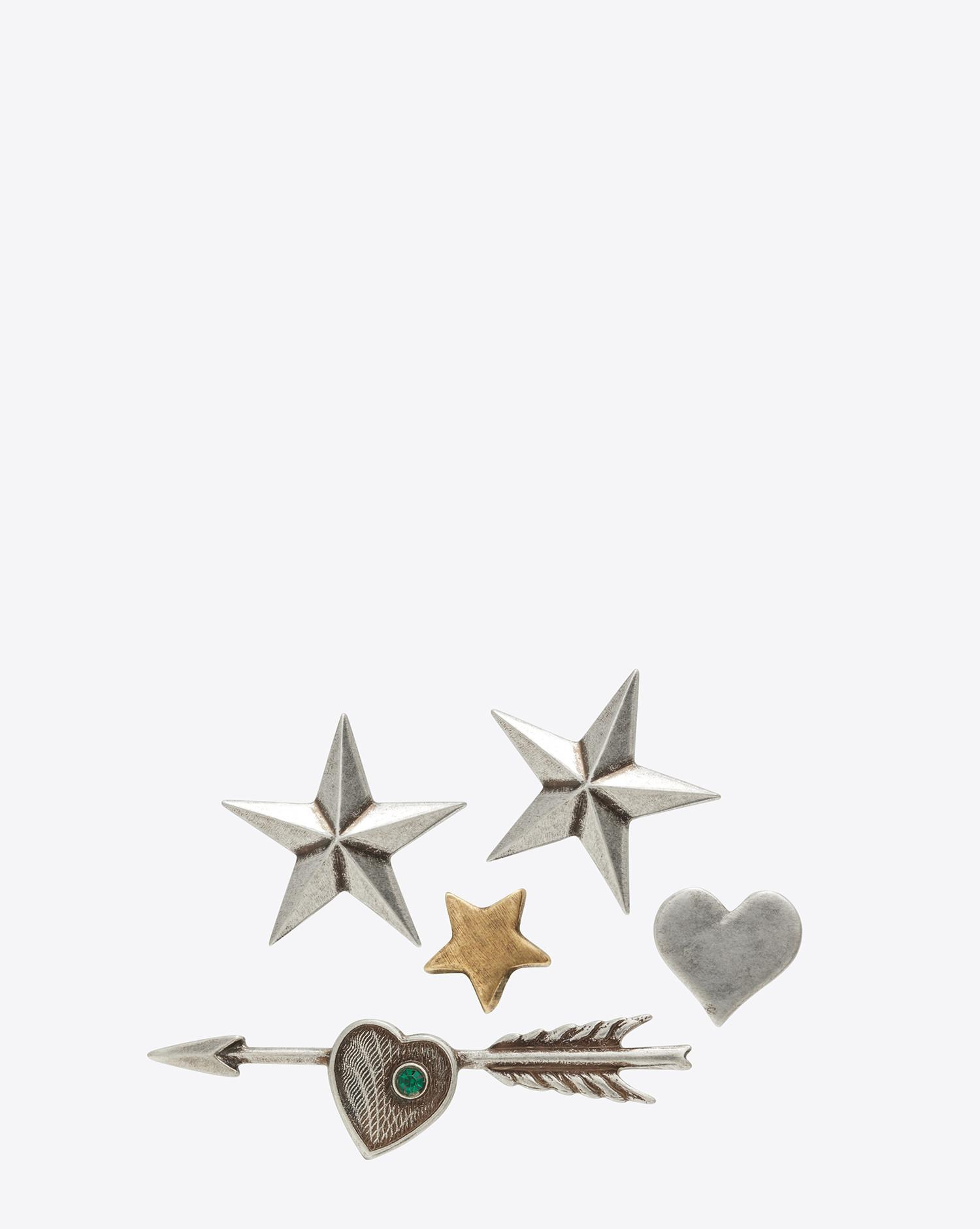 594976bbbfd Saint Laurent Army 5 Pin Set In Old Silver And Old Gold-toned Brass ...