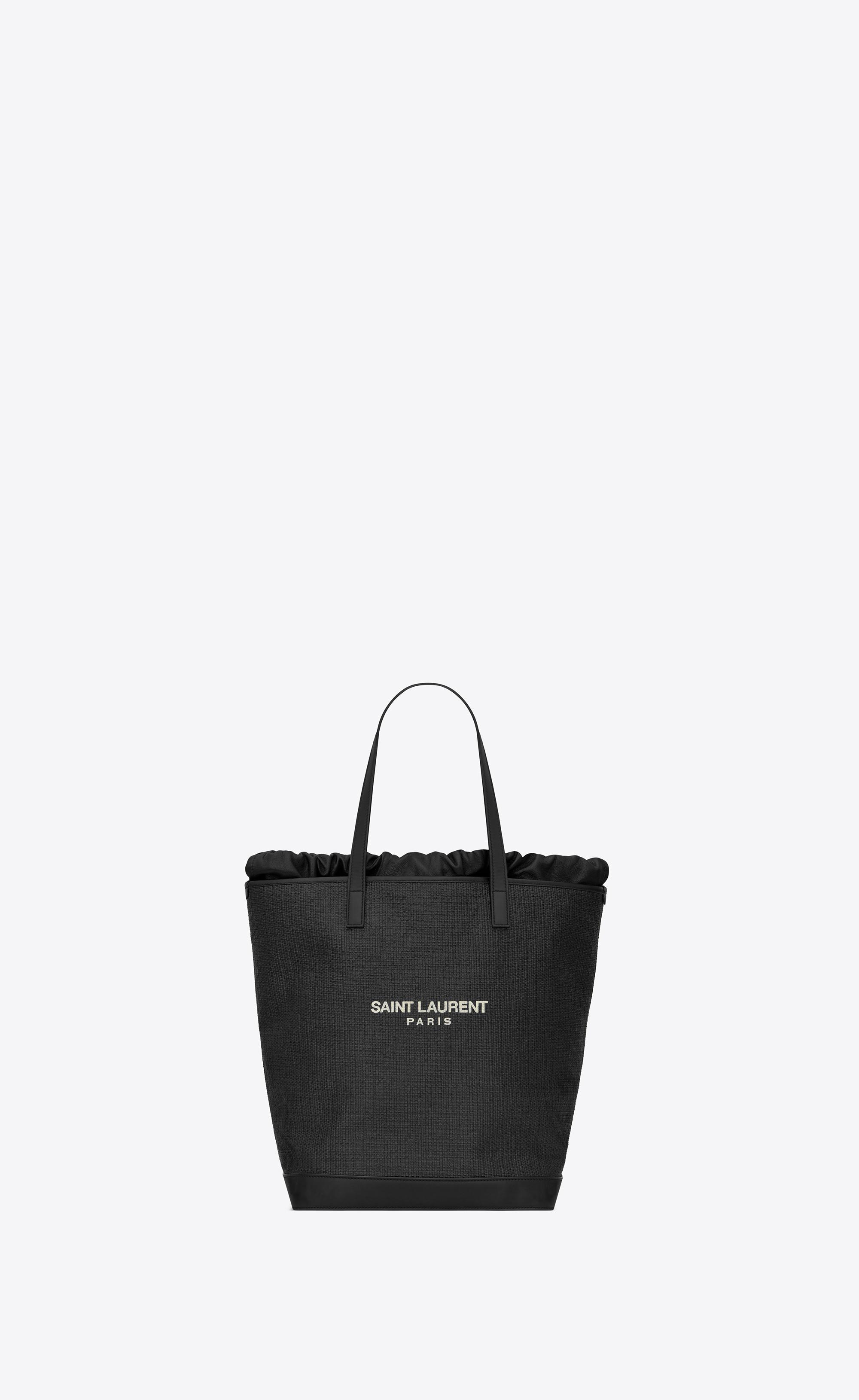 3091336fc156 Saint Laurent - Black Teddy Shopping Bag In Raffia - Lyst. View fullscreen