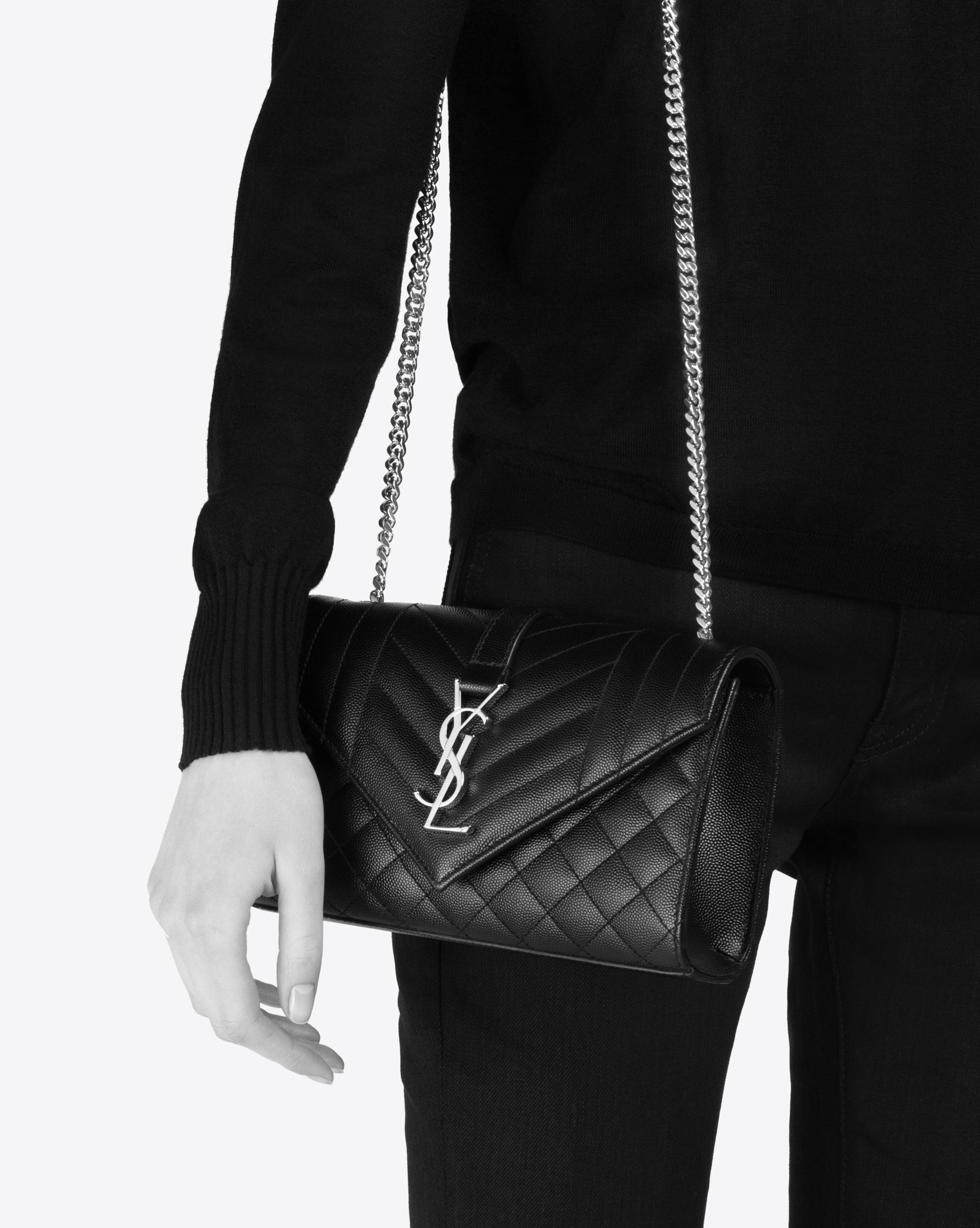 7a1807254f5a Saint Laurent - Black Envelope Small Bag In Grain De Poudre Embossed Leather  - Lyst. View fullscreen