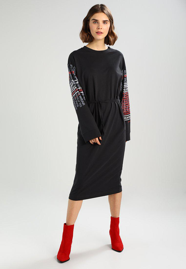 Cheap Monday. Women's Black Bind Dress Slogan Sleeves Jersey Dress