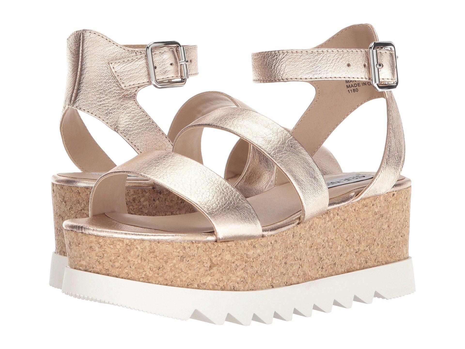 2b7a2d5d137 Lyst - Steve Madden Kirsten Cork Platform Wedge Sandal (rose Leather ...