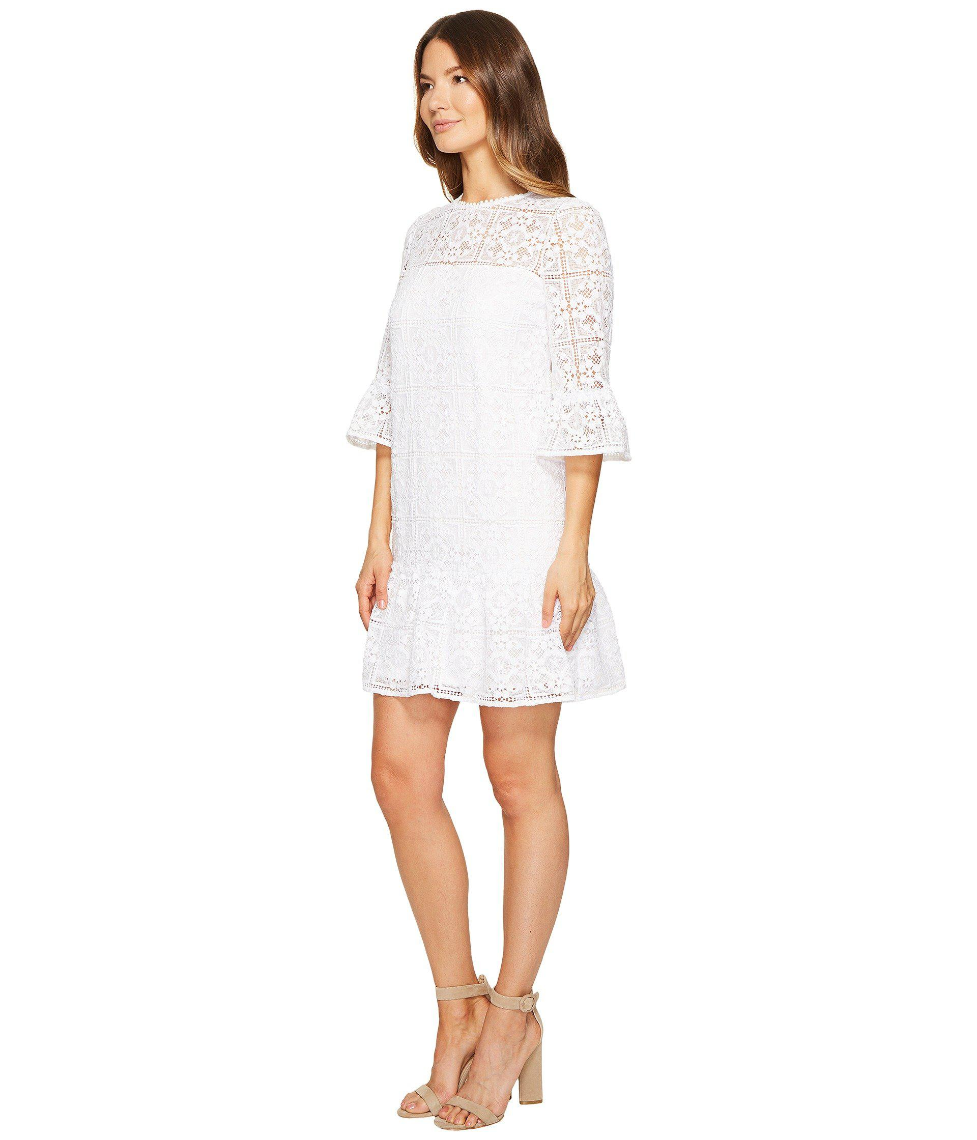 ac1688eb30aa Lyst - Kate Spade Lace Flounce Shift Dress in White