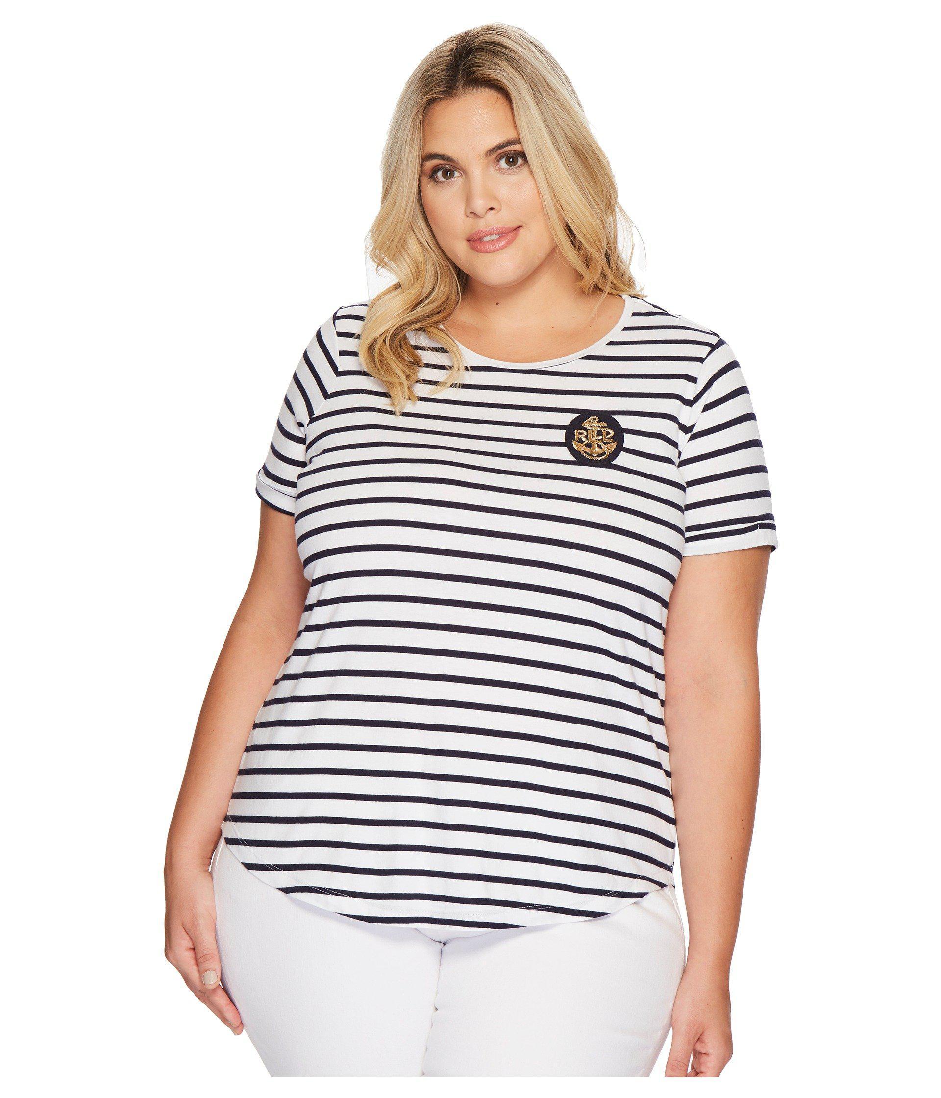 41e3725f117 Lyst - Lauren by Ralph Lauren Plus Size Bullion-patch Striped T ...