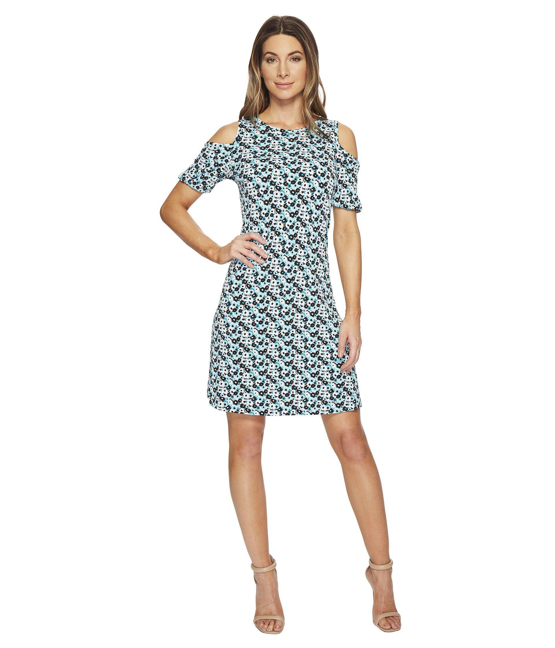 Lyst - Michael Michael Kors Carnation Cold Shoulder Dress in Blue