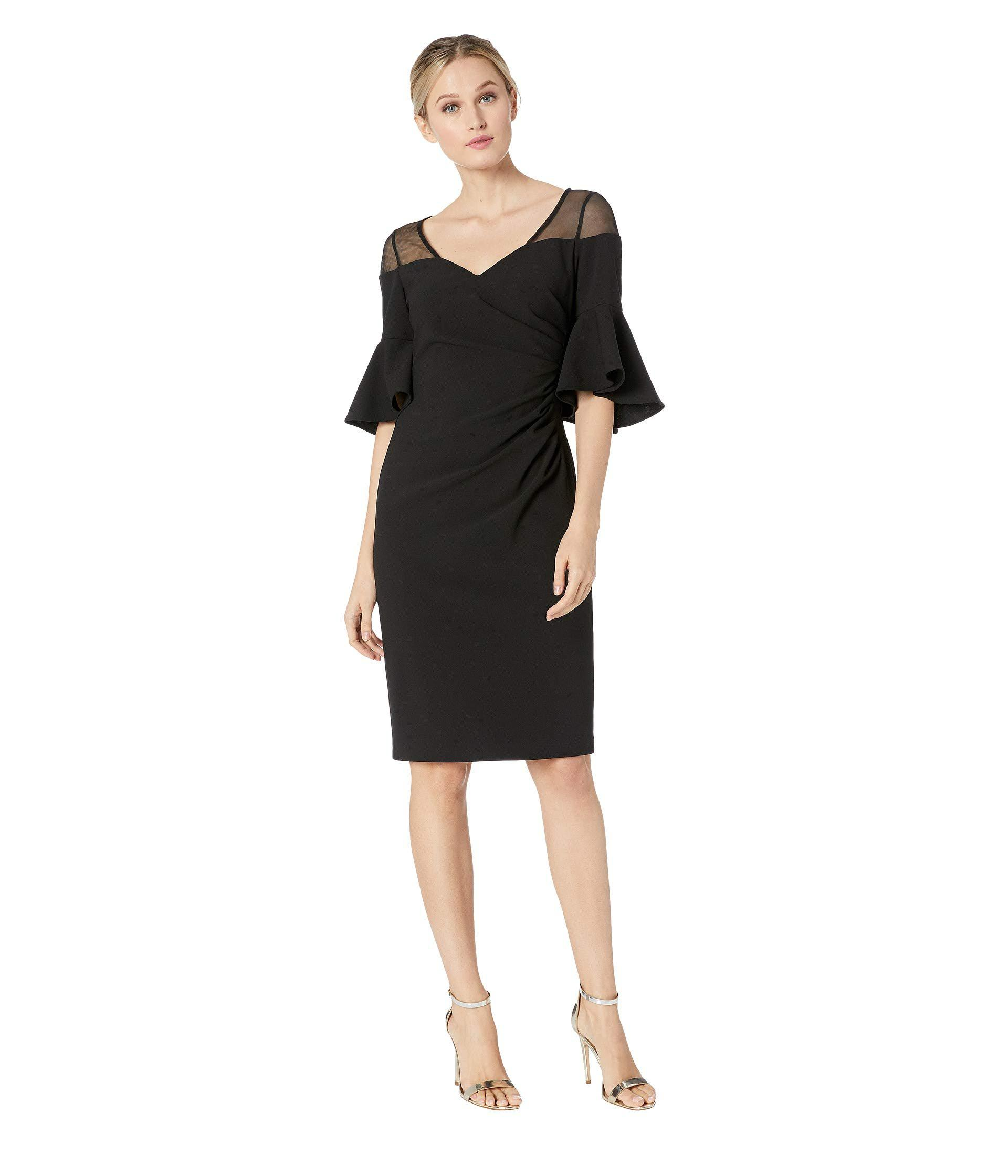 f82df452 Lyst - Calvin Klein Ruched Waist With Illusion Shoulder Dress (black ...