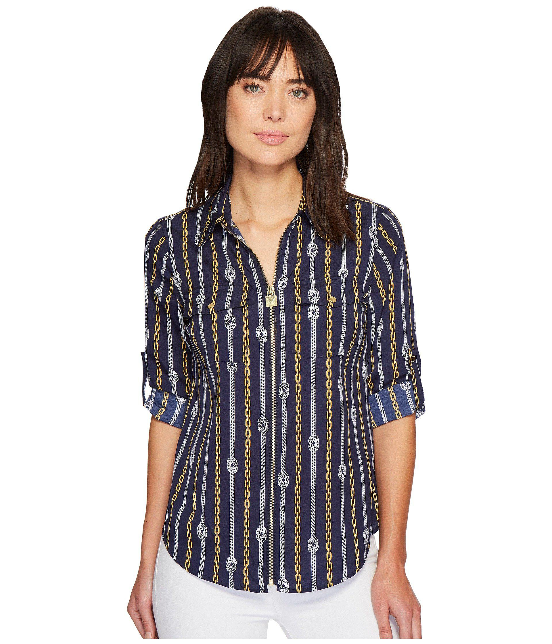 73b14995509e4 MICHAEL Michael Kors Reef Knot Lock Zip Top in Blue - Lyst