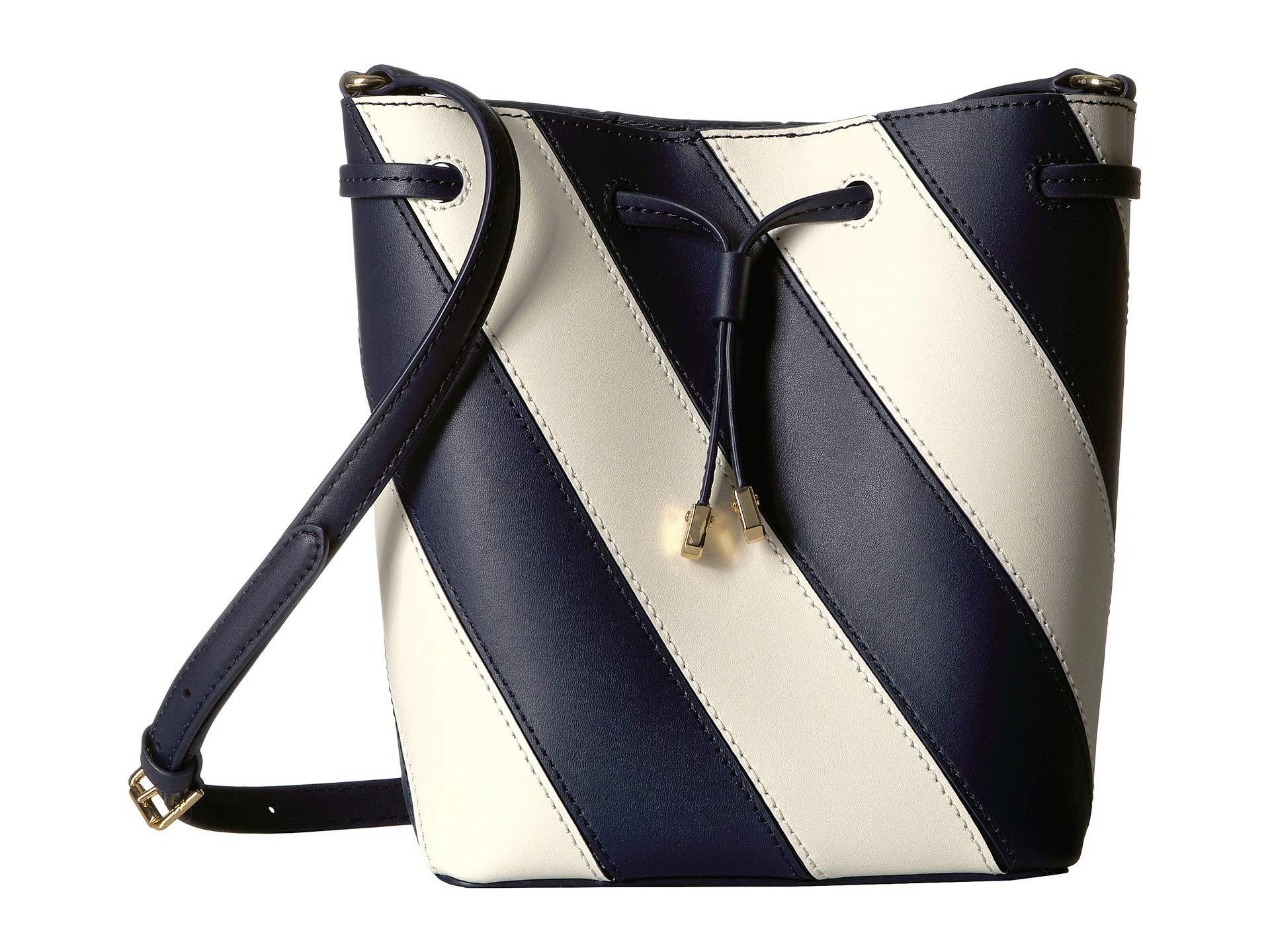 Lauren by Ralph Lauren. Women s Blue Diagonal Stripe Debby Ii Drawstring  Small (navy vanilla) Handbags 08b781555cab9