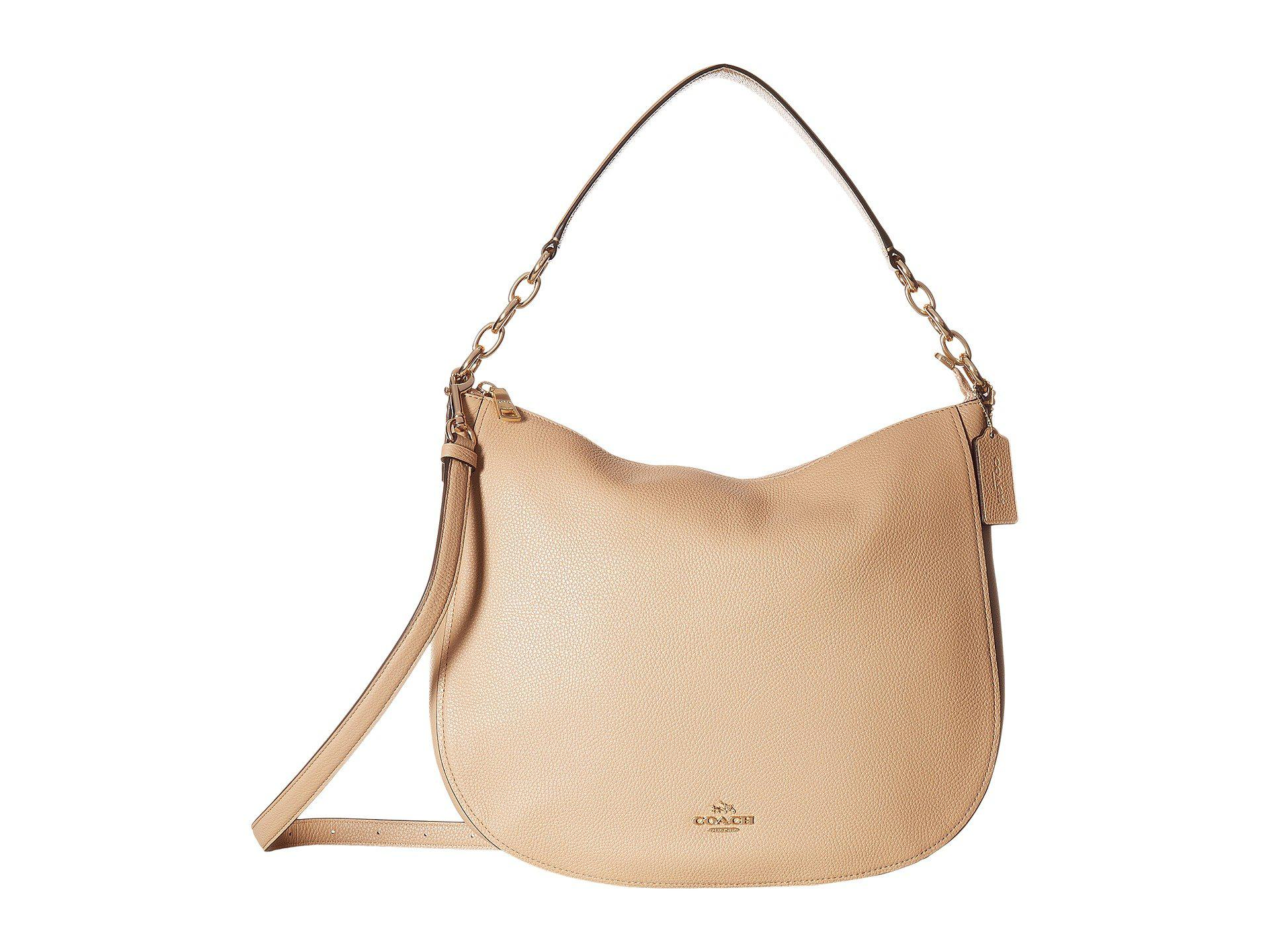 3f7a78d45ee3f ... reduced lyst coach polished pebbled leather chelsea 32 hobo in natural  01fd2 13cc6