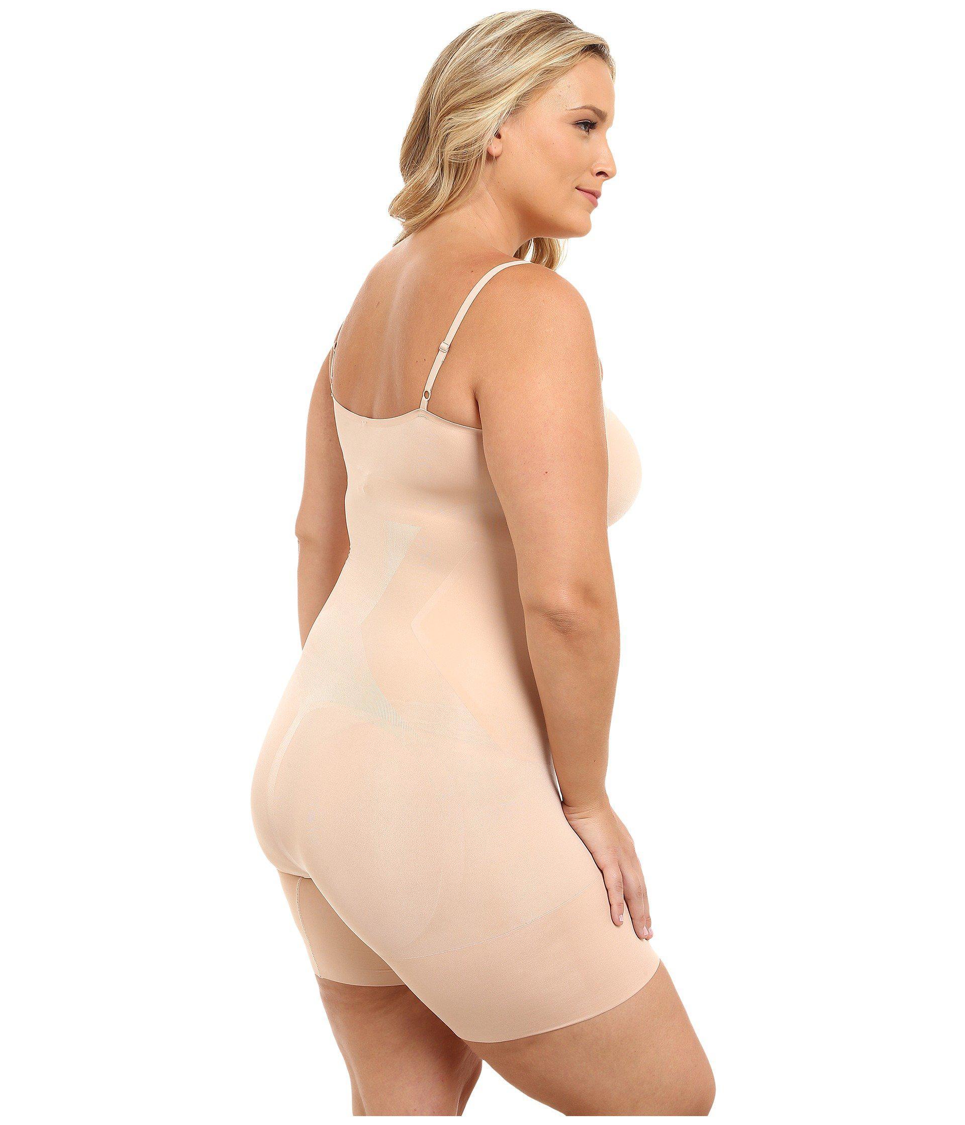 c4b8c174c26cb Lyst - Spanx Plus Size Oncore Mid-thigh Bodysuit (soft Nude) Women s ...