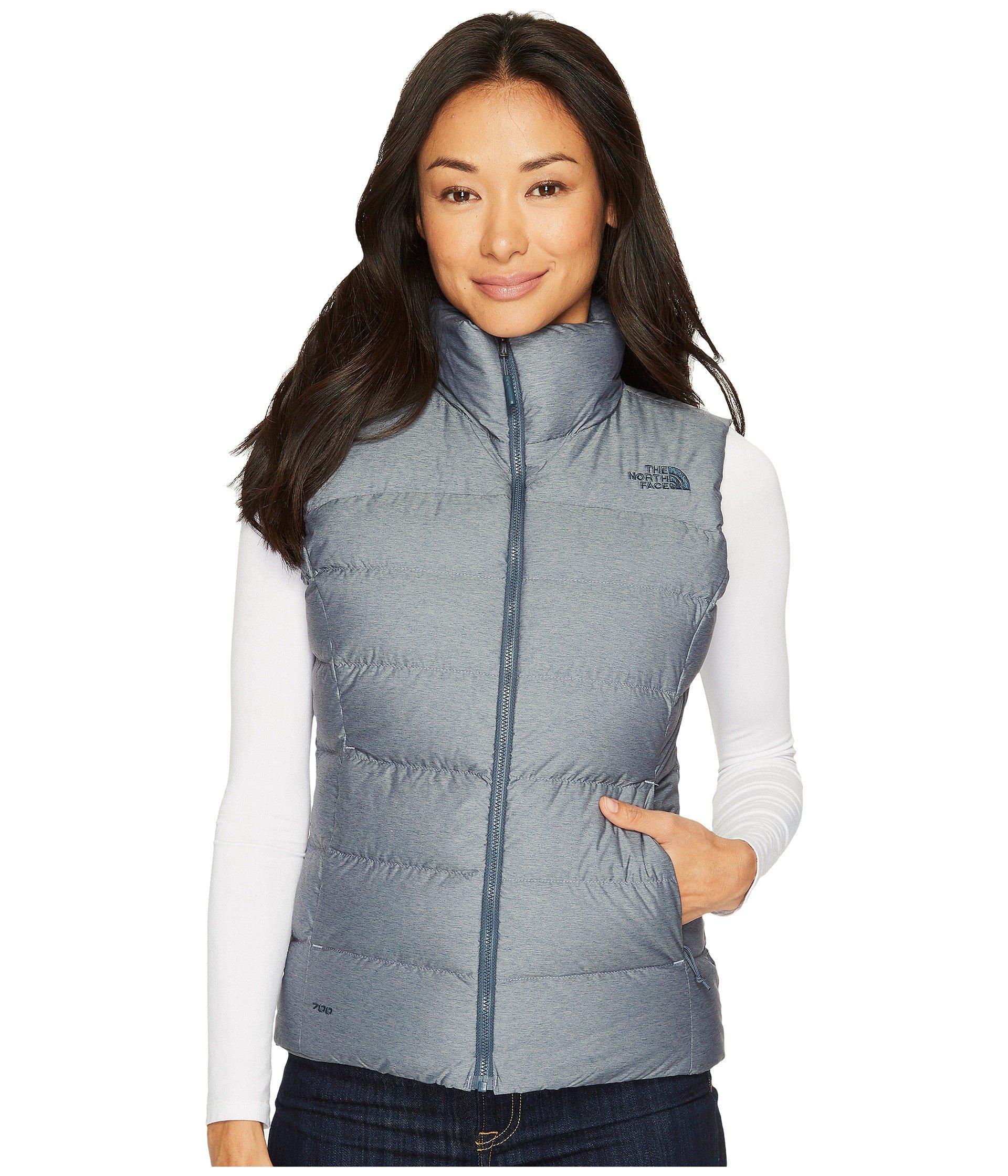 The North Face. Blue Nuptse Vest (mid Grey tnf Black) Women s Jacket 1d3b95418