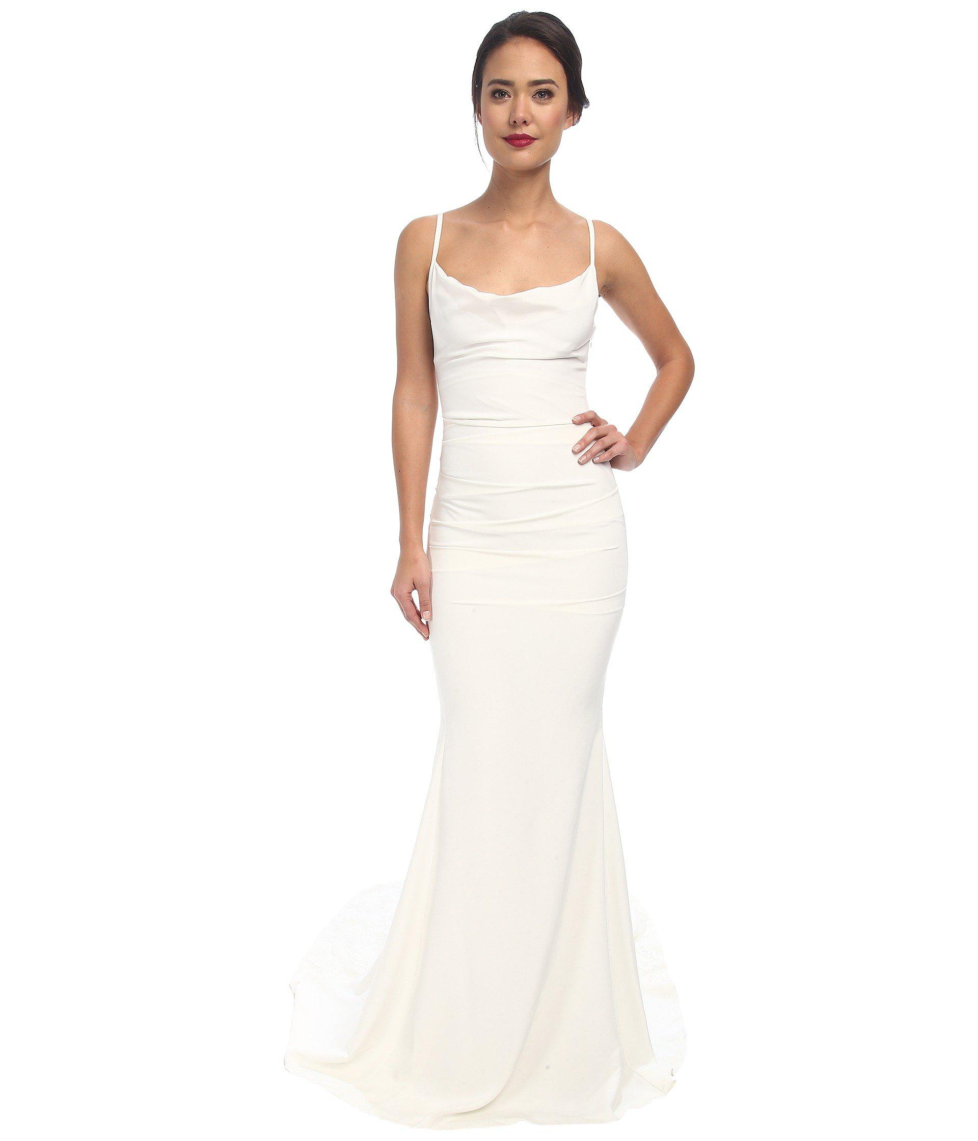 82457c8c9f59 Nicole Miller Hampton Lace Back Gown (antique White) Women's Dress ...
