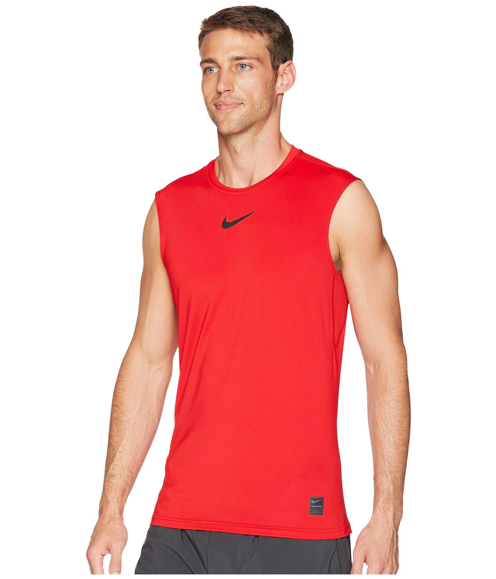 9eb8c2c62a15c Lyst - Nike Pro Fitted Sleeveless Training Top (black white white) Men s  Sleeveless in Red for Men