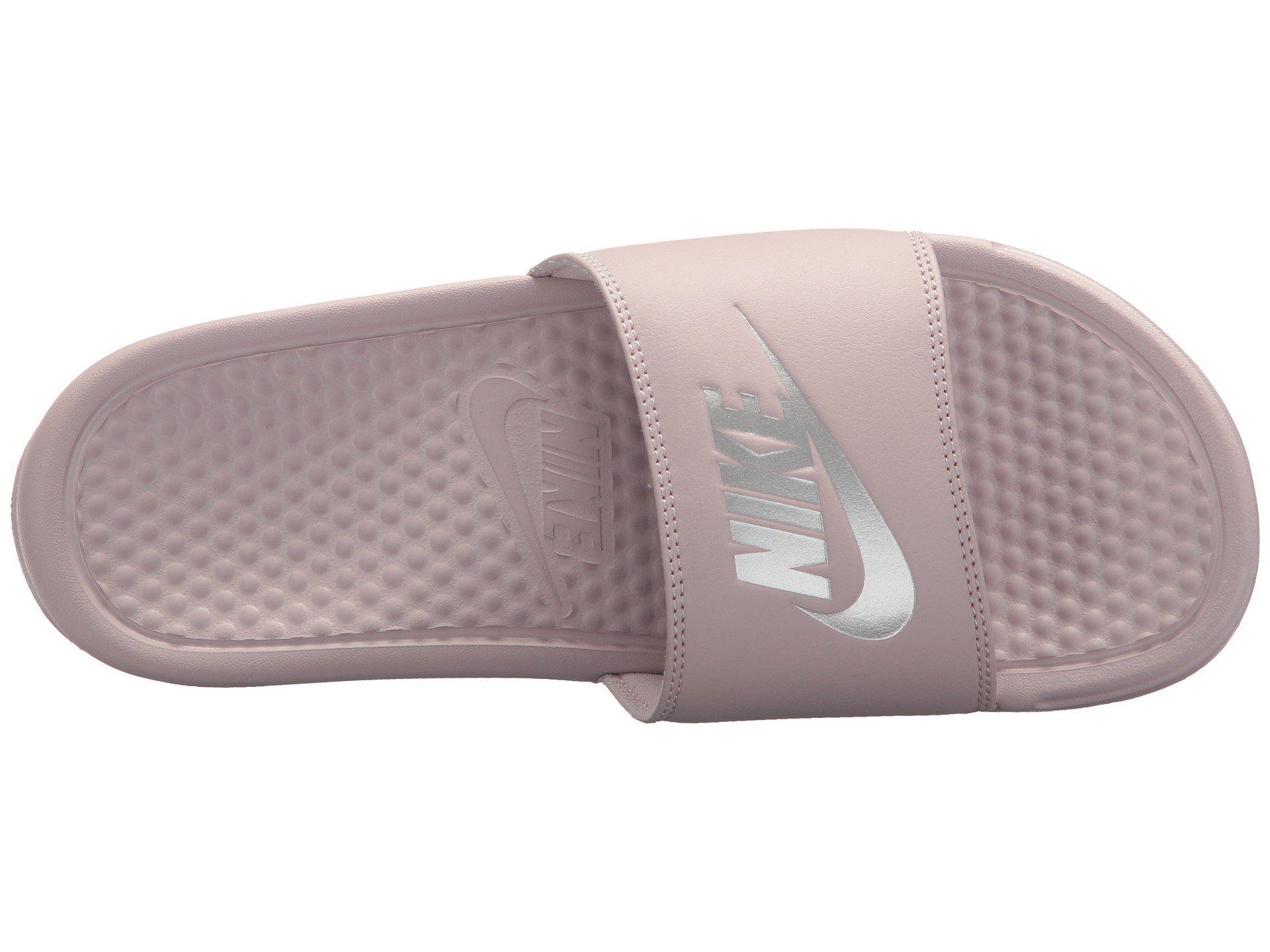 58bea148684f Lyst - Nike Benassi Jdi Slide (white-metallic Silver) Women s ...