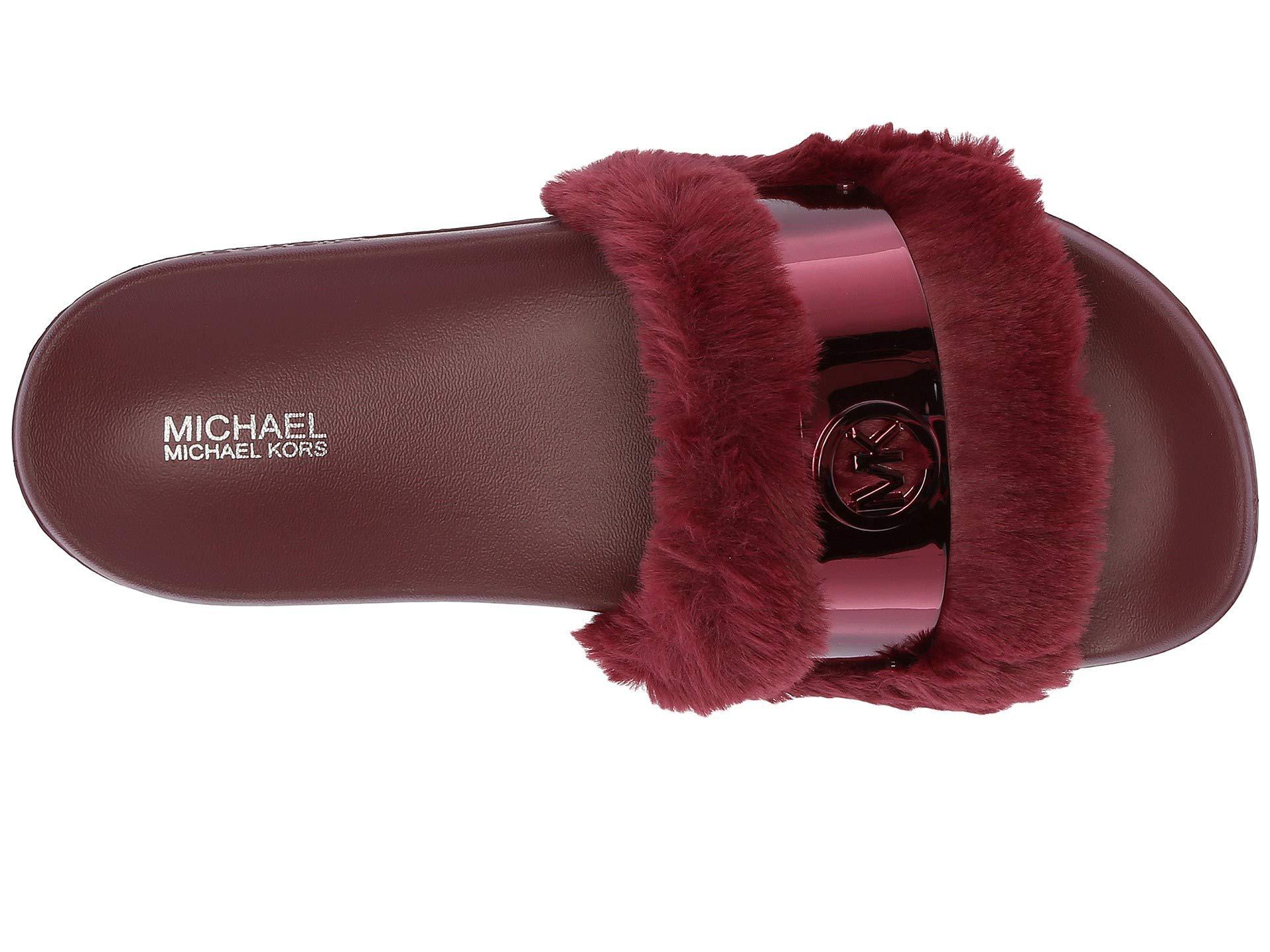 1141148fa44e MICHAEL Michael Kors - Red Jett Slide (black Faux Fur) Women s Shoes -  Lyst. View fullscreen