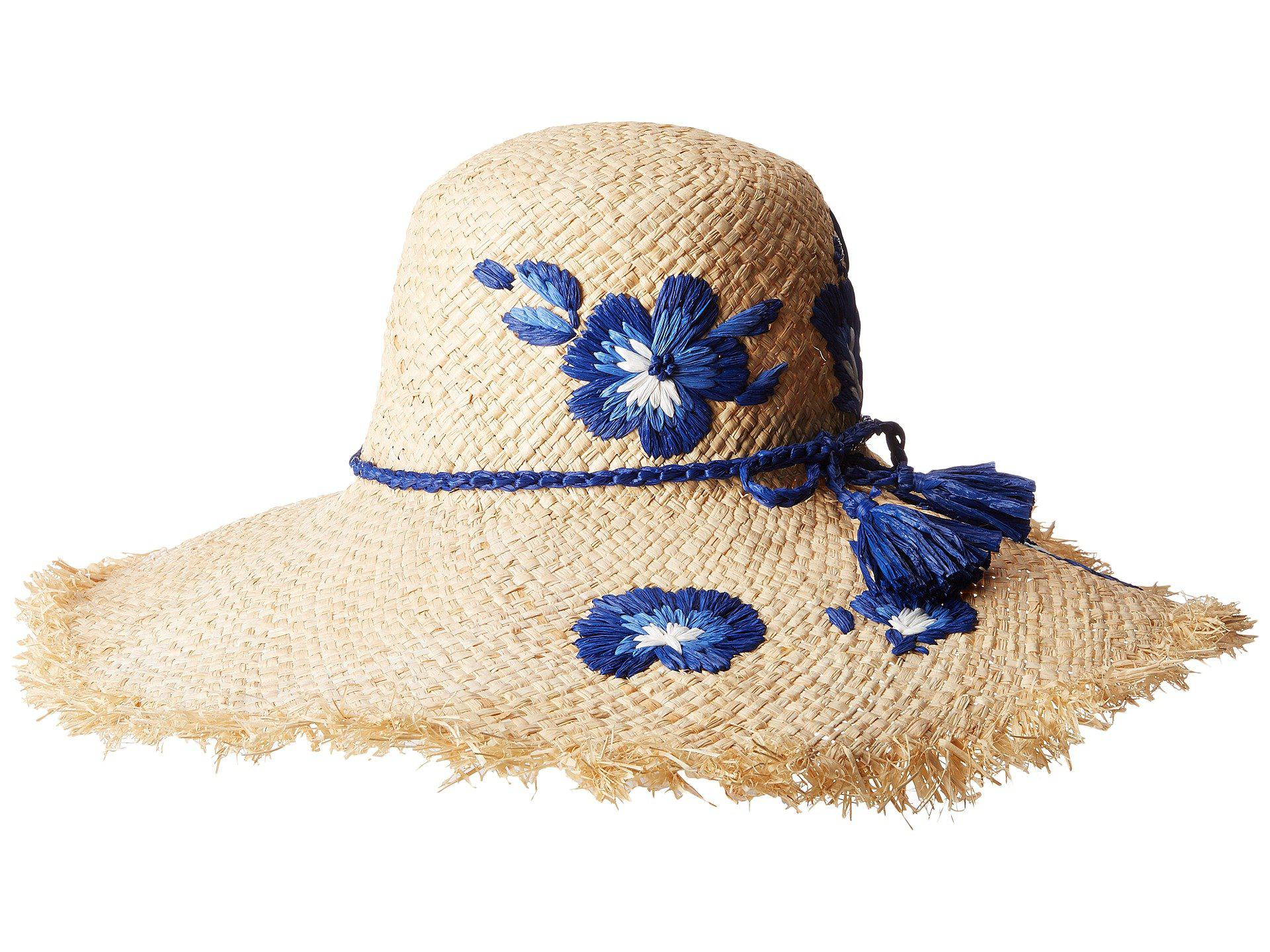 4397c953c88 Lyst - Kate Spade Embroidered Hibiscus Sun Hat in Natural