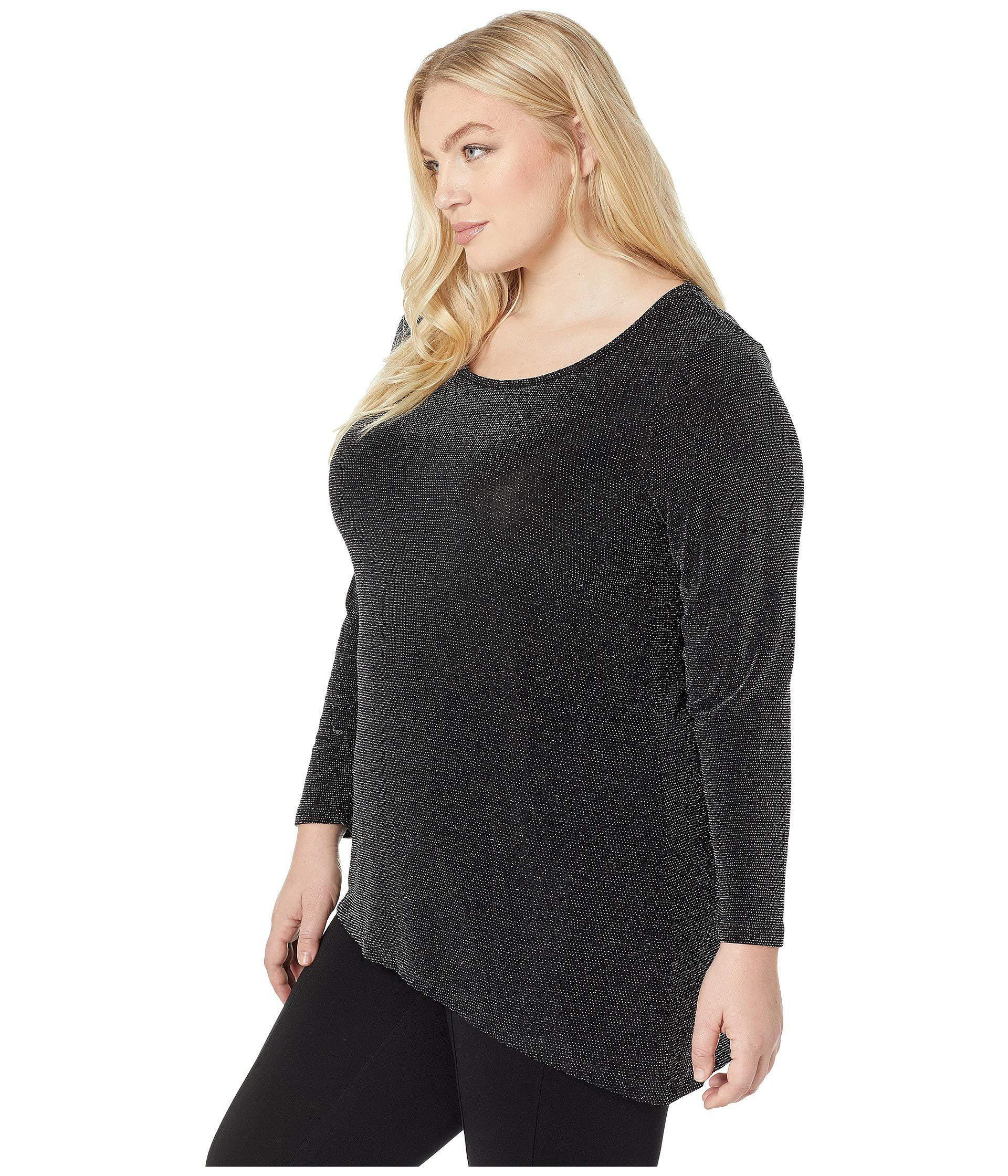 5279f92e890bd Lyst - Calvin Klein Plus Size Long Sleeve Asymmetric Metallic Top  (black silver) Women s Clothing in Black
