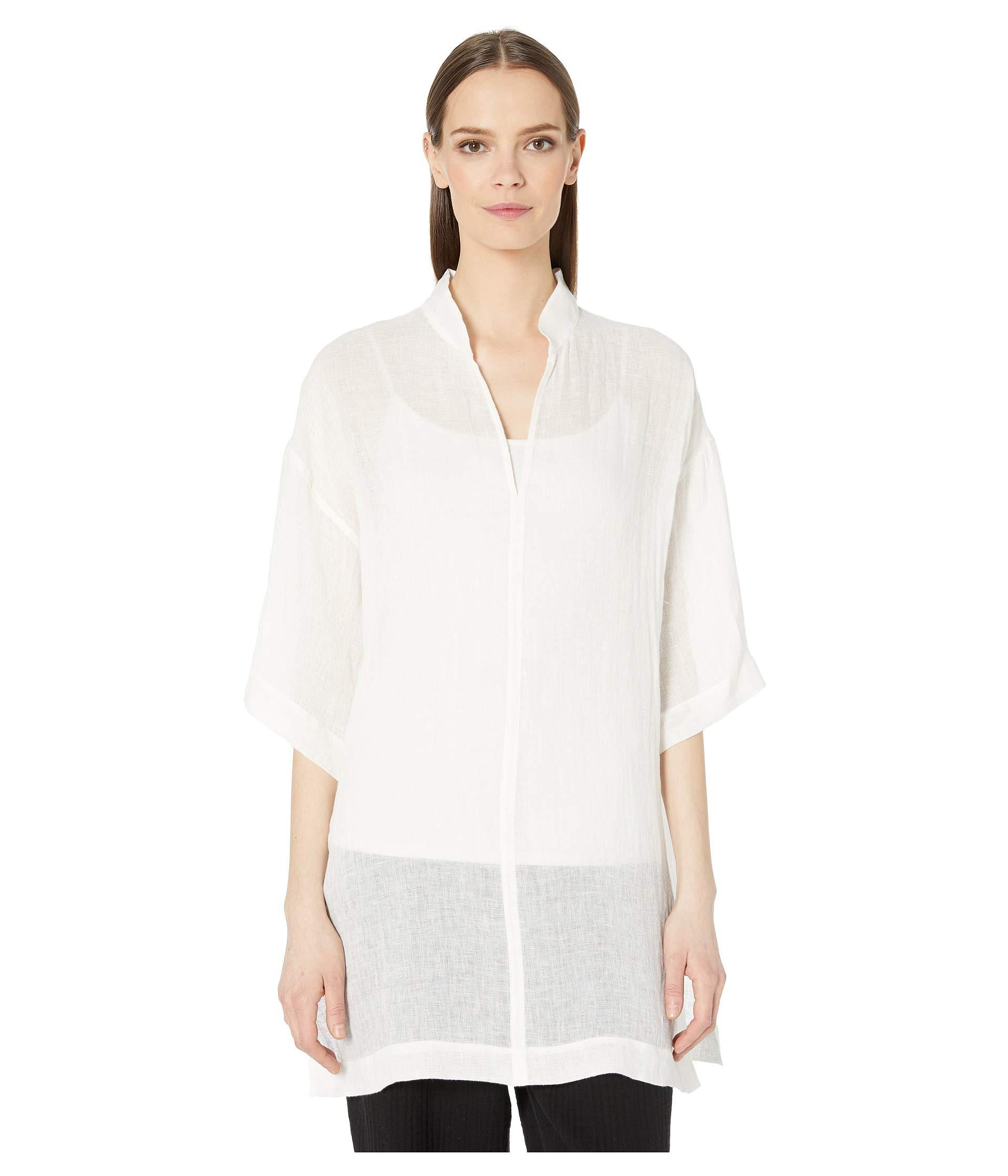 bc49c1fc068 Eileen Fisher. Organic Linen Gauze Stand Collar Tunic (white) Women s  Clothing