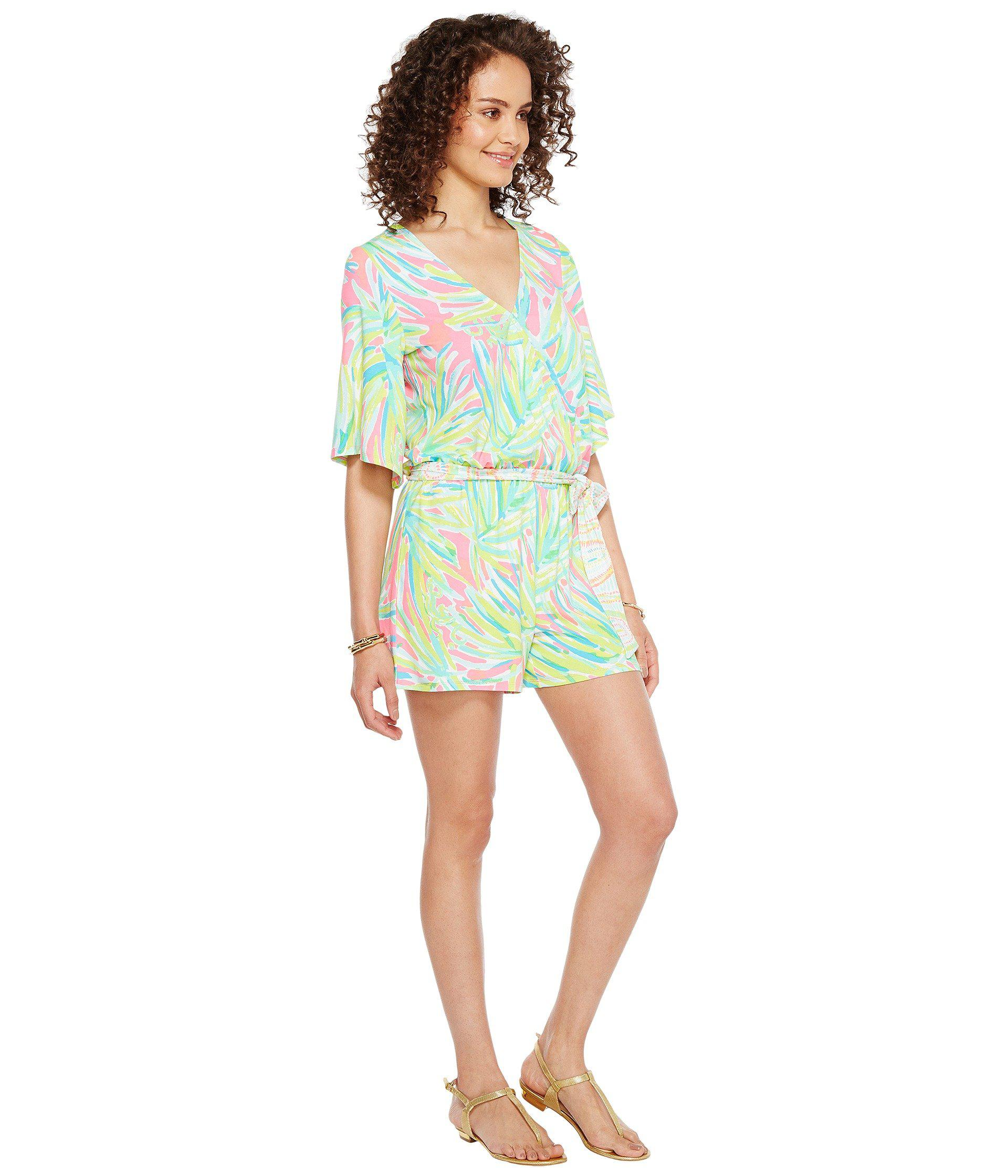 50834d0ae55c Lyst - Lilly Pulitzer Madilyn Romper (tiki Pink Royal Lime ...