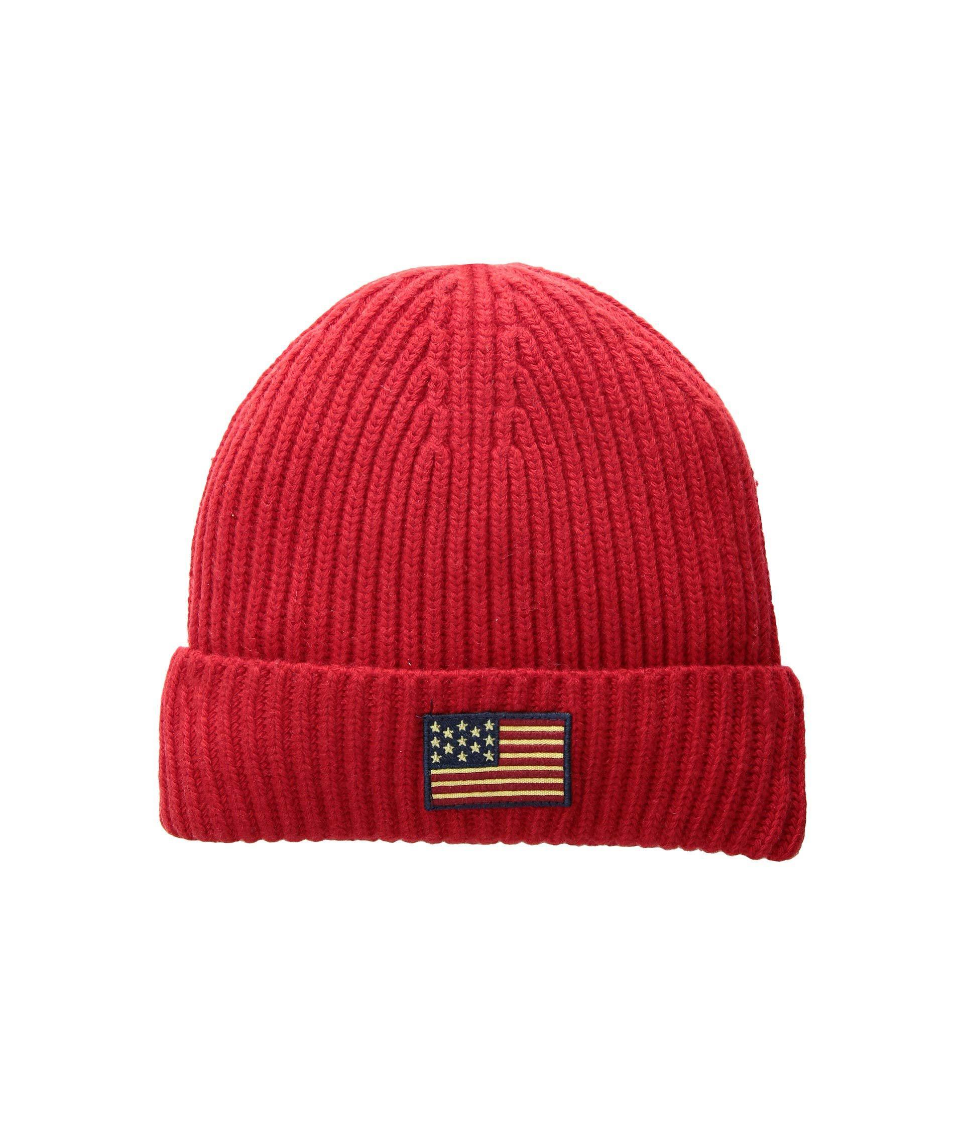 Lyst - Polo Ralph Lauren American Flag Cuff Hat (rl 2000 Red) Caps ... 09148fdb08ad