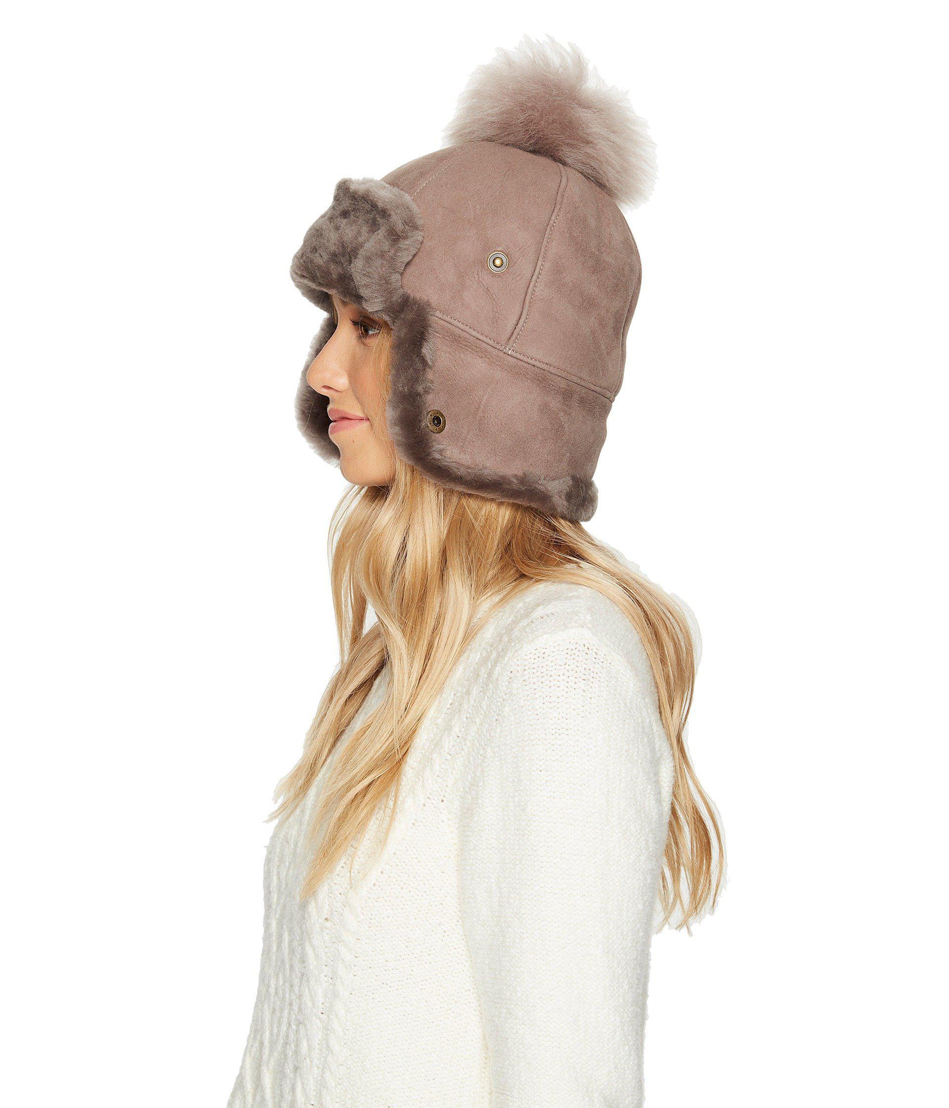 da2aac9786e Lyst - UGG Pom Waterproof Sheepskin Hat in Gray