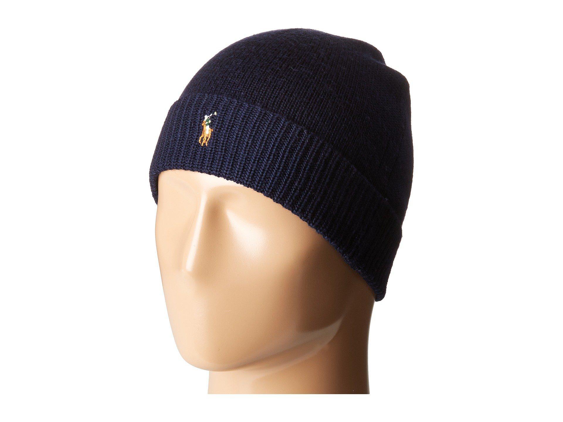 5f9e2befc25 Polo Ralph Lauren. Men s Blue Classic Lux Merino Cuff Hat (hunter Navy) Caps