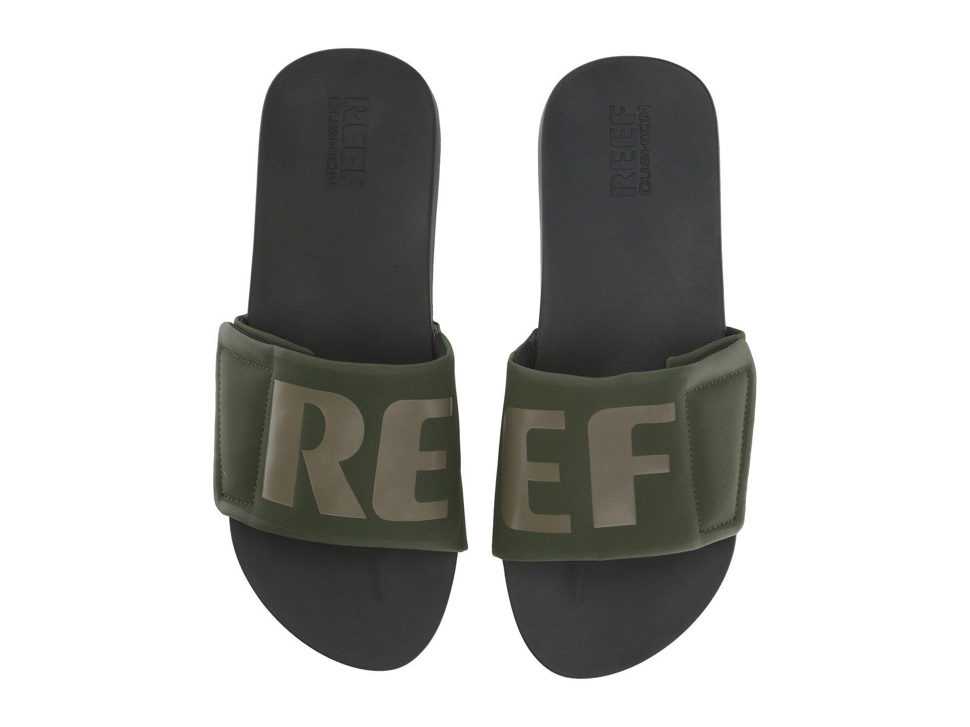7449f3c9d941 Lyst - Reef Cushion Bounce Slide (black white logo) Men s Sandals in ...