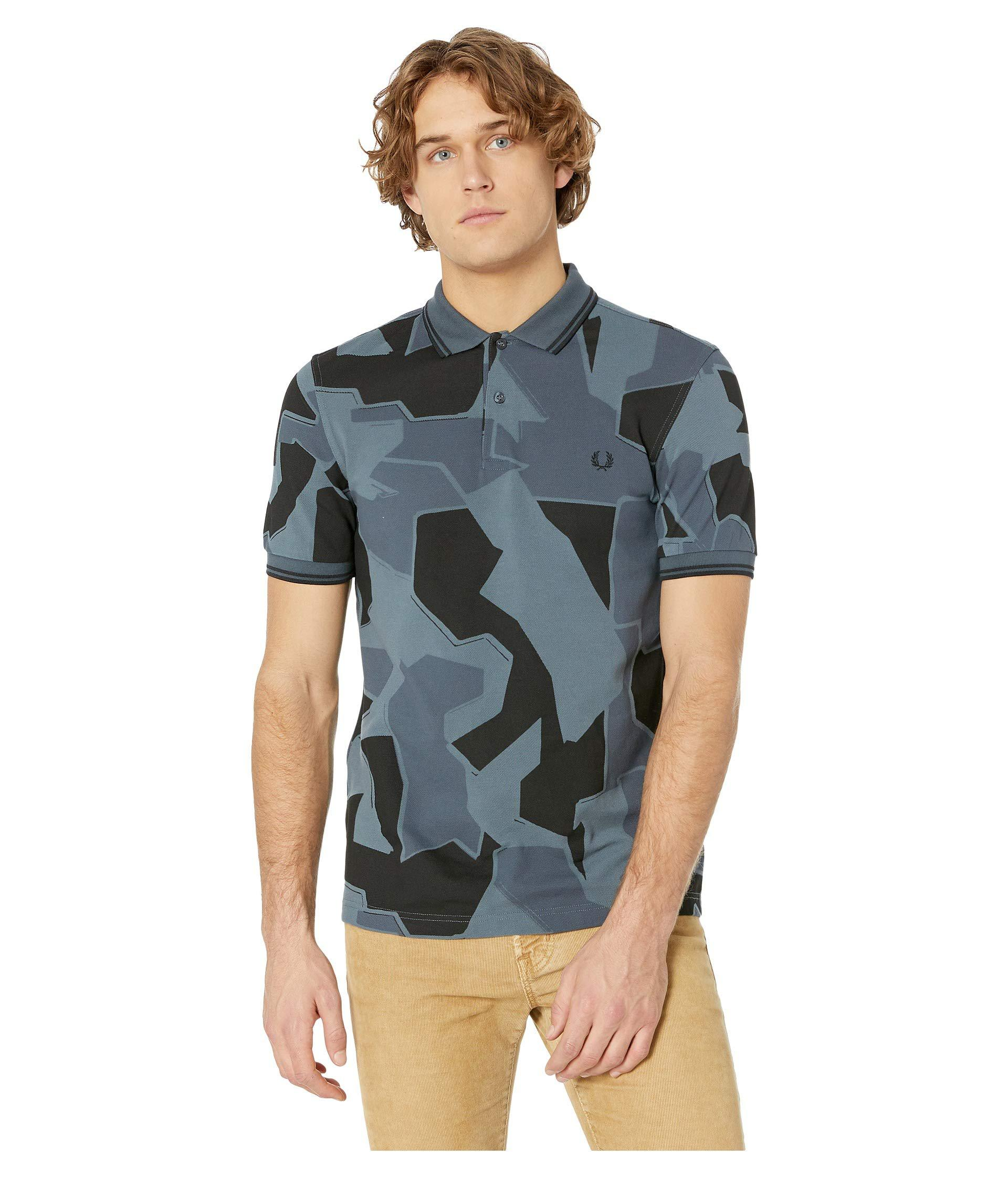 9bf674ef6 Fred Perry Camouflage Pique Shirt (airforce Camo) Men's Clothing for ...