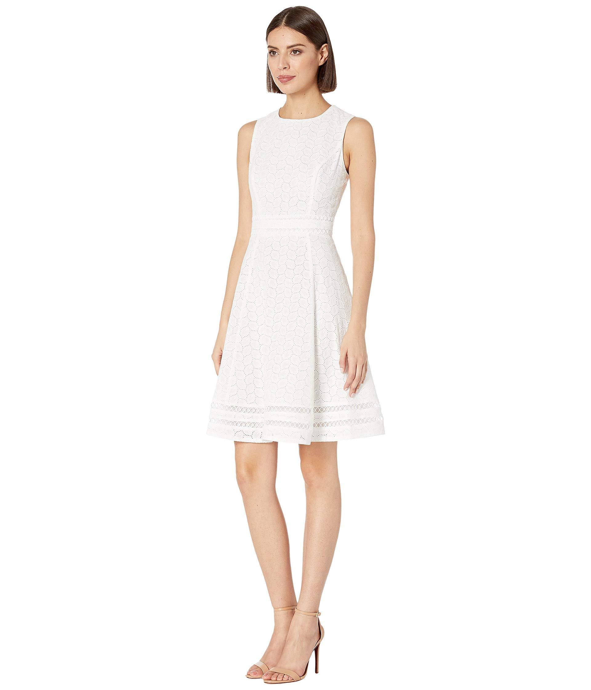 8a64f9c8cb Lyst - Calvin Klein Cotton Eyelet A-line Dress (white) Women s Dress in  White