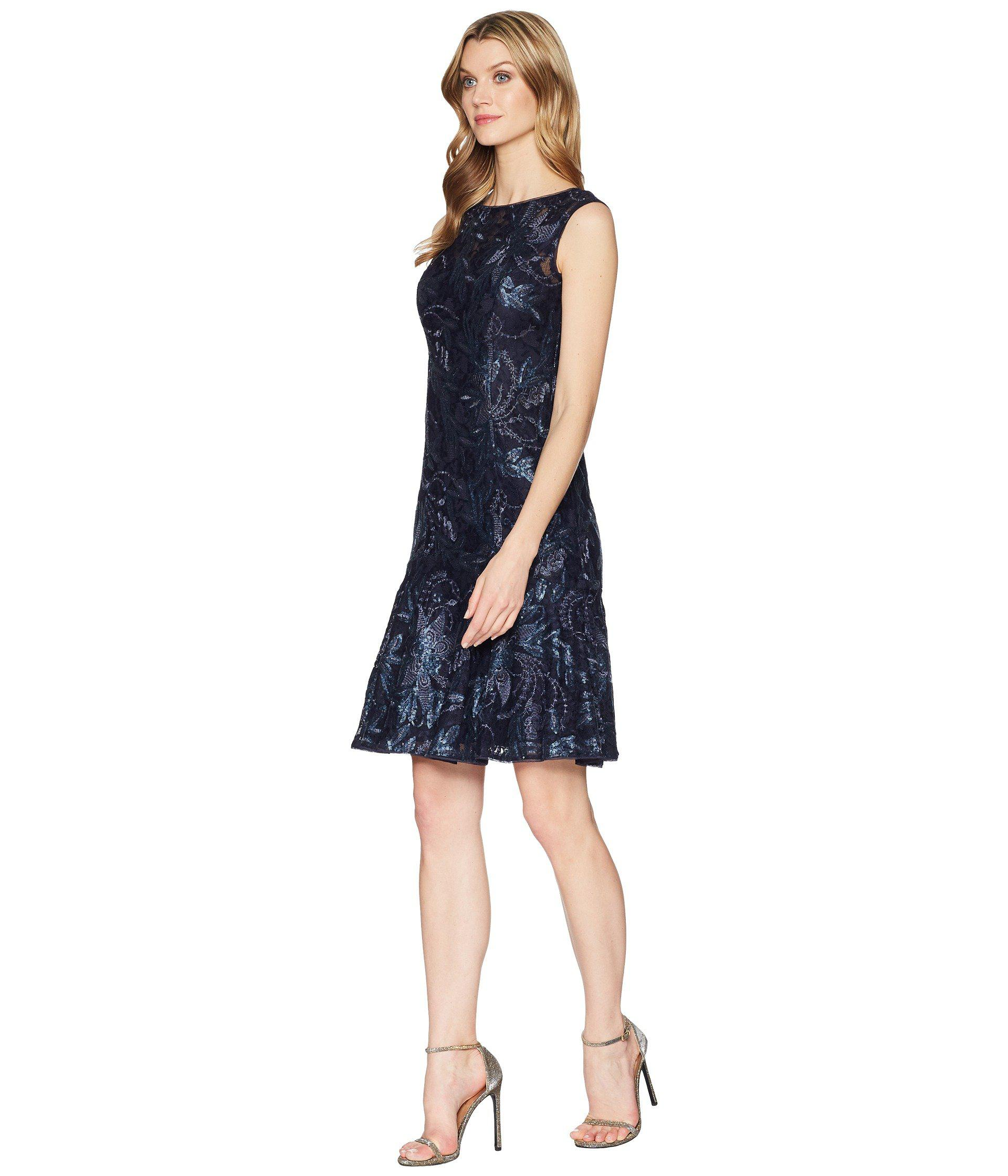 Lyst Adrianna Papell Short Trumpet Dress Midnight Women S In Blue