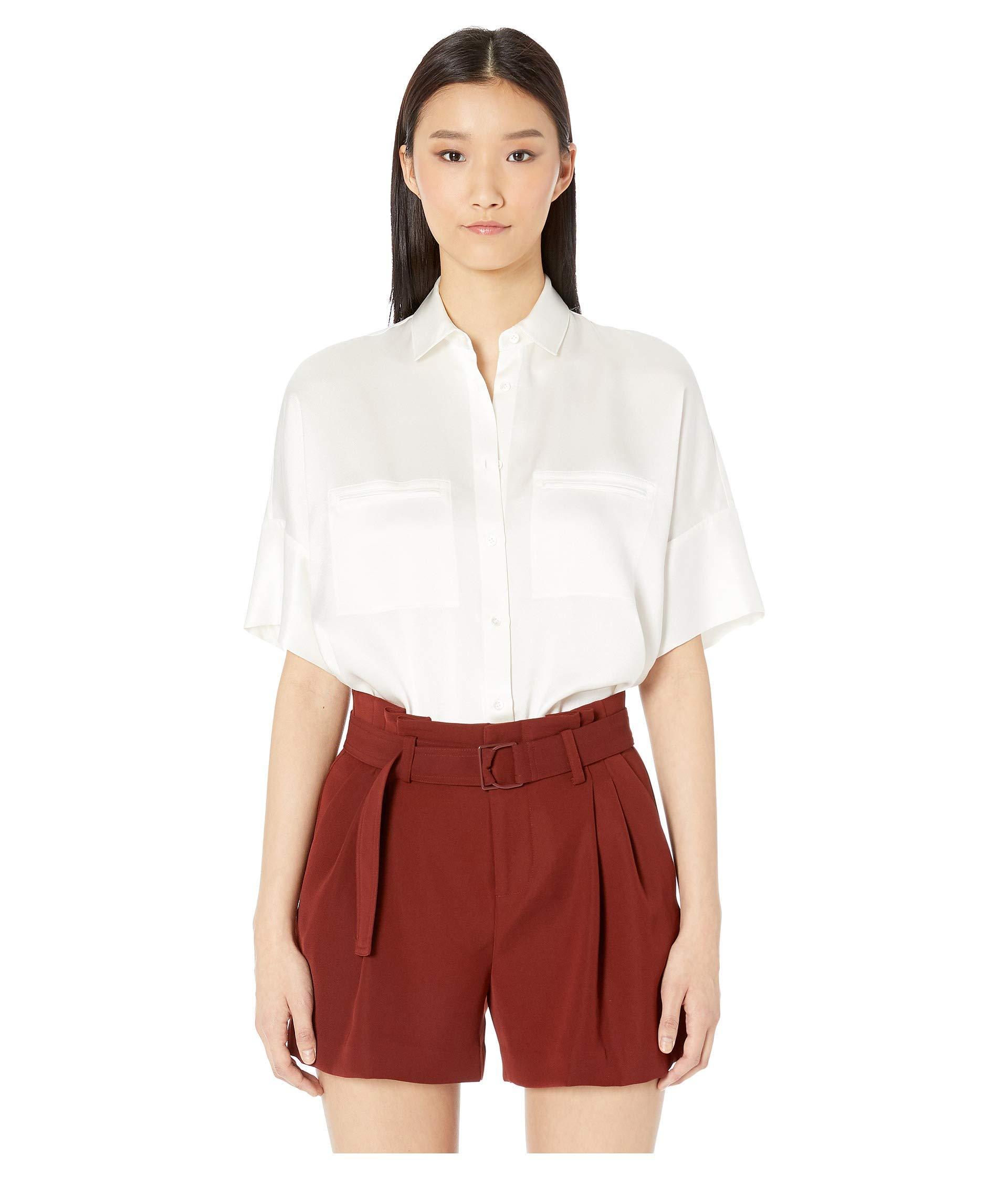 8d0318ed00e48 Lyst - Vince Short Sleeve Blouse (cottonwood) Women s Blouse in White