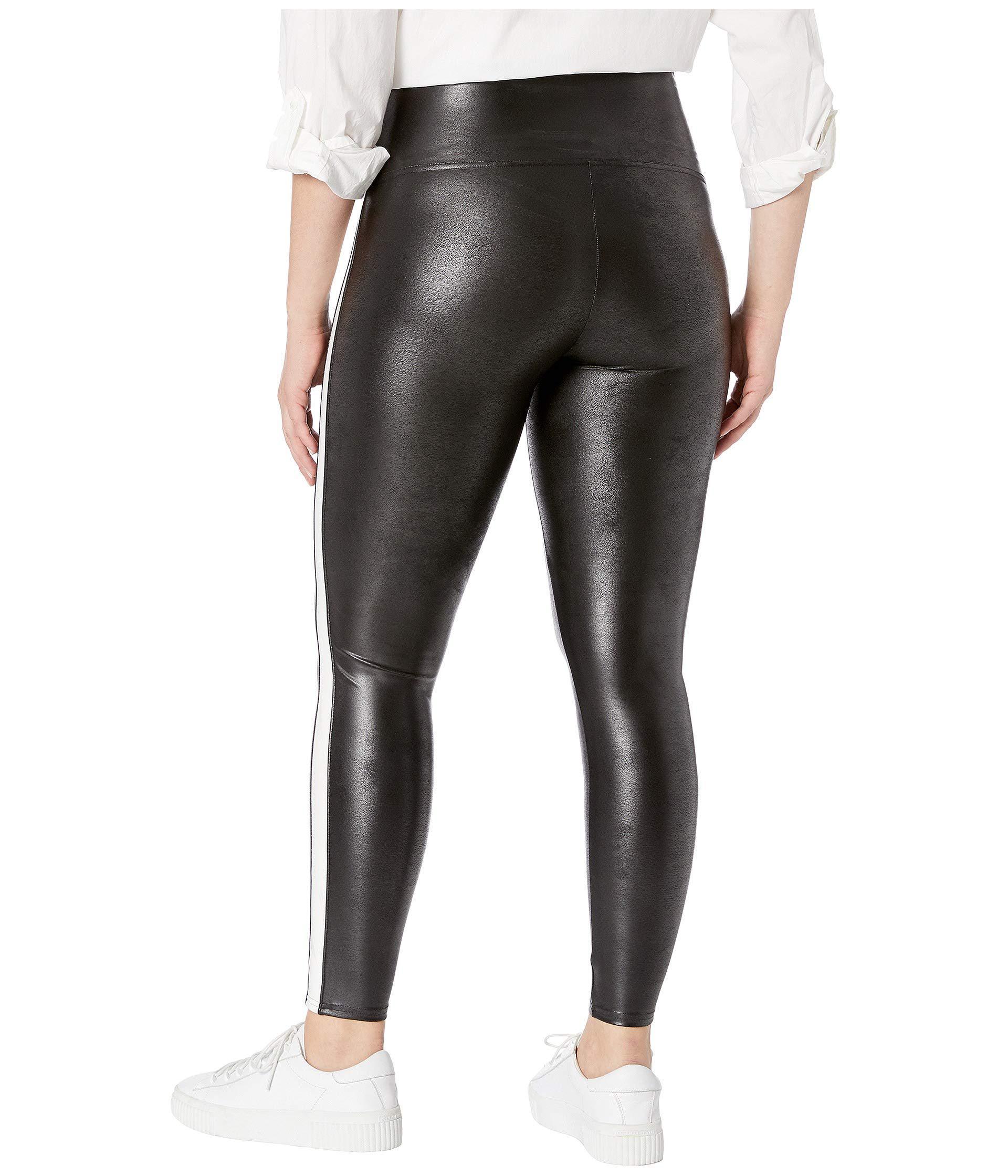 eb201b8f211e7 Spanx Plus Size Faux Leather Side Stripe Leggings (very Black/white ...