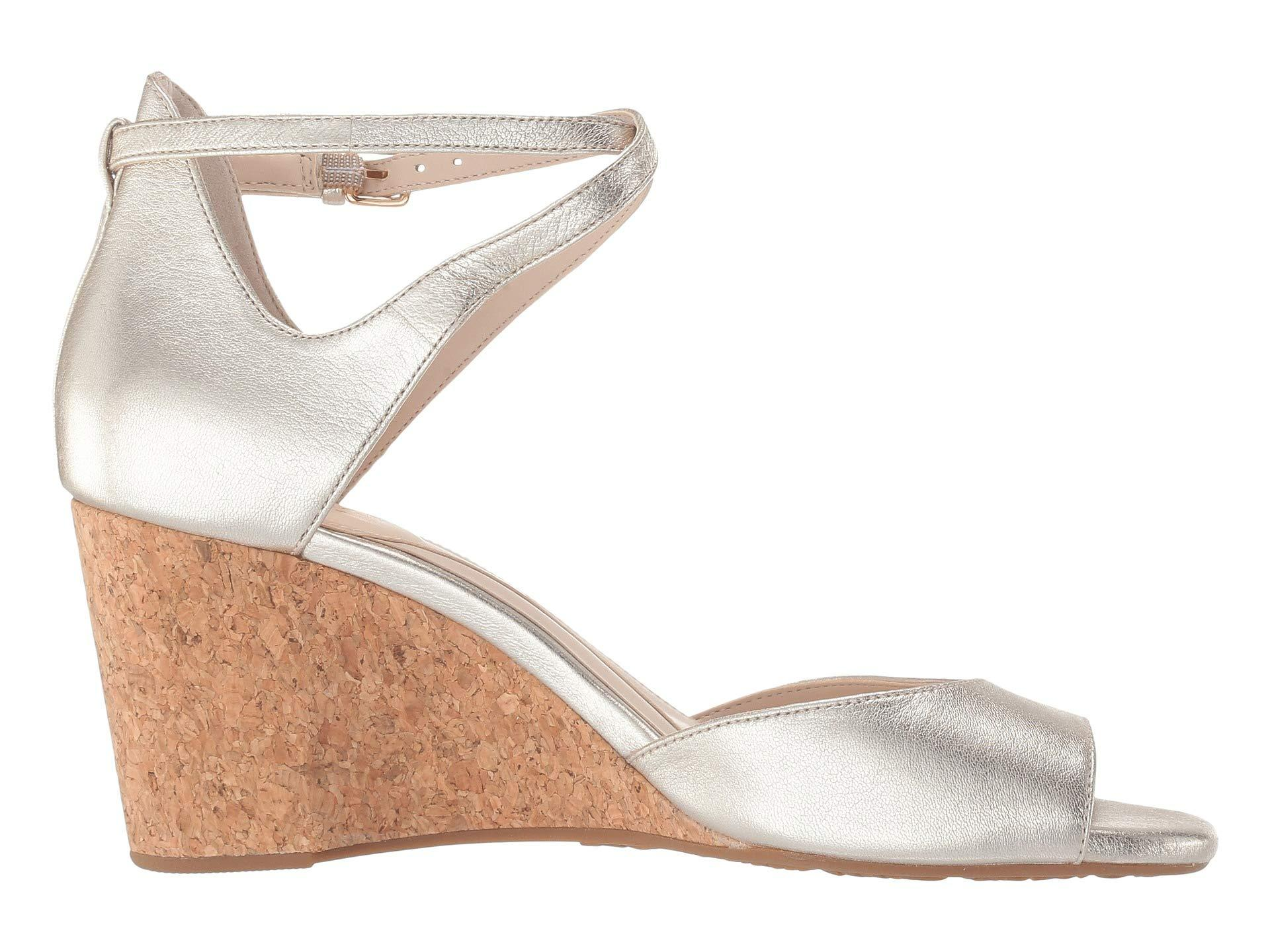 986d82f0bb90 Cole Haan Sadie Grand Open Toe Wedge Sandal (marine Blue Nubuck) Women's  Shoes in Metallic - Lyst