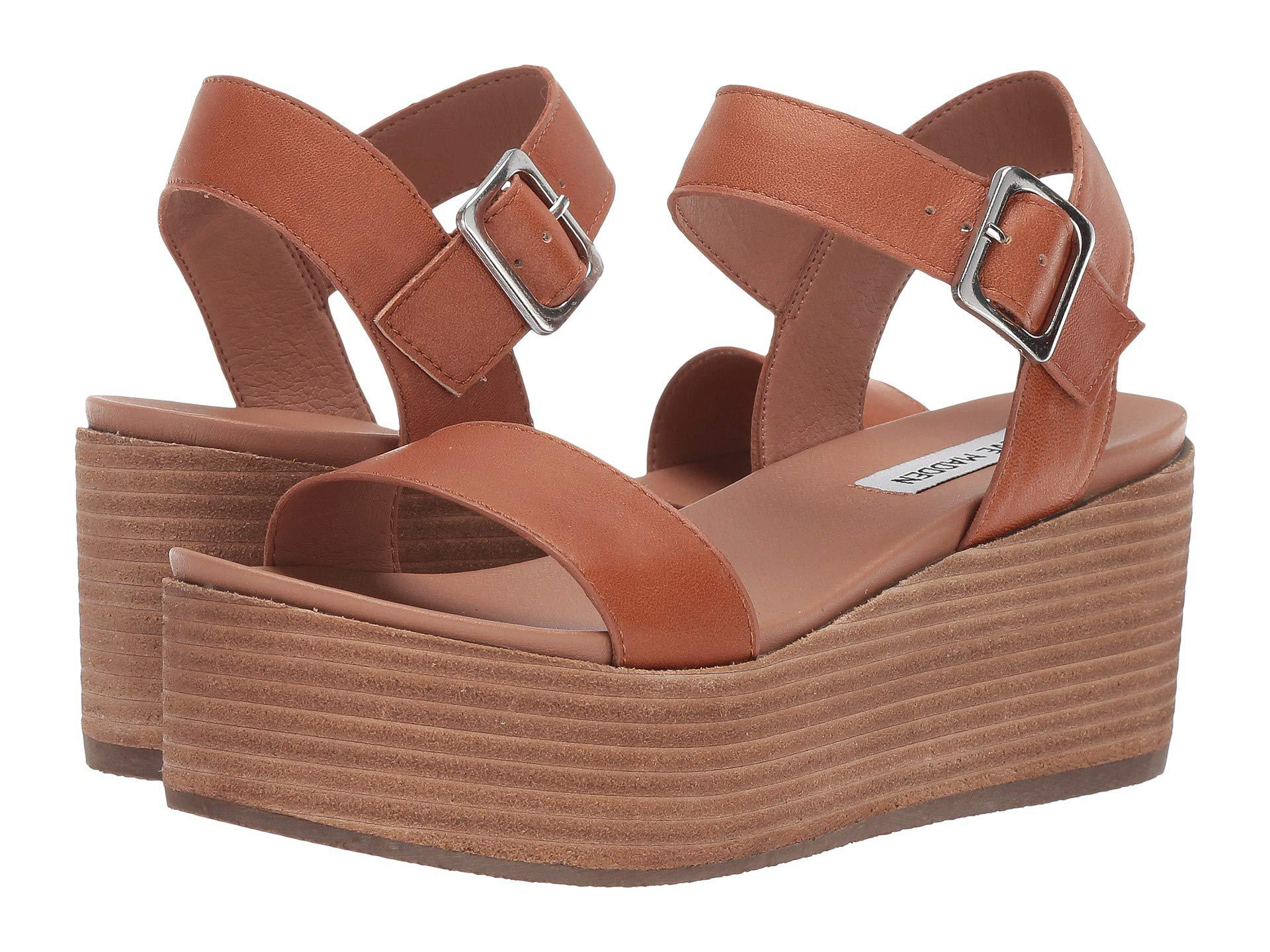 20dd9f1421d Steve Madden. Brown Heiress Wedge Sandal (black Leather) Women s Wedge Shoes