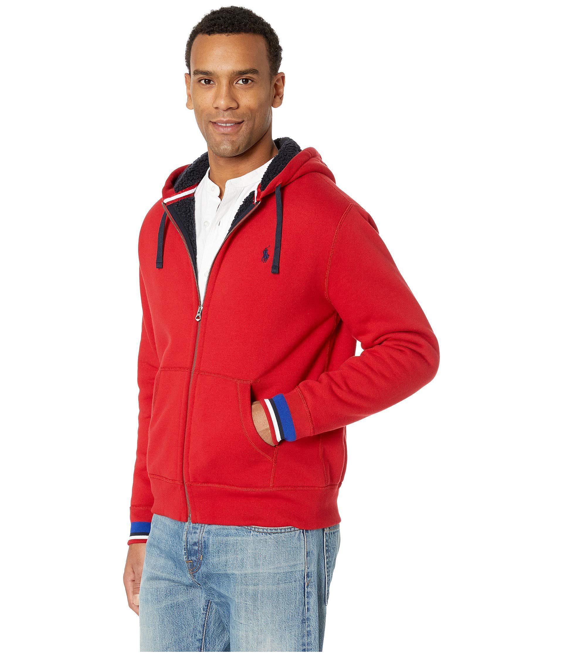 a15107600 Polo Ralph Lauren - Red Sherpa Fleece Full Zip (aviator Navy) Men s Clothing  for. View fullscreen