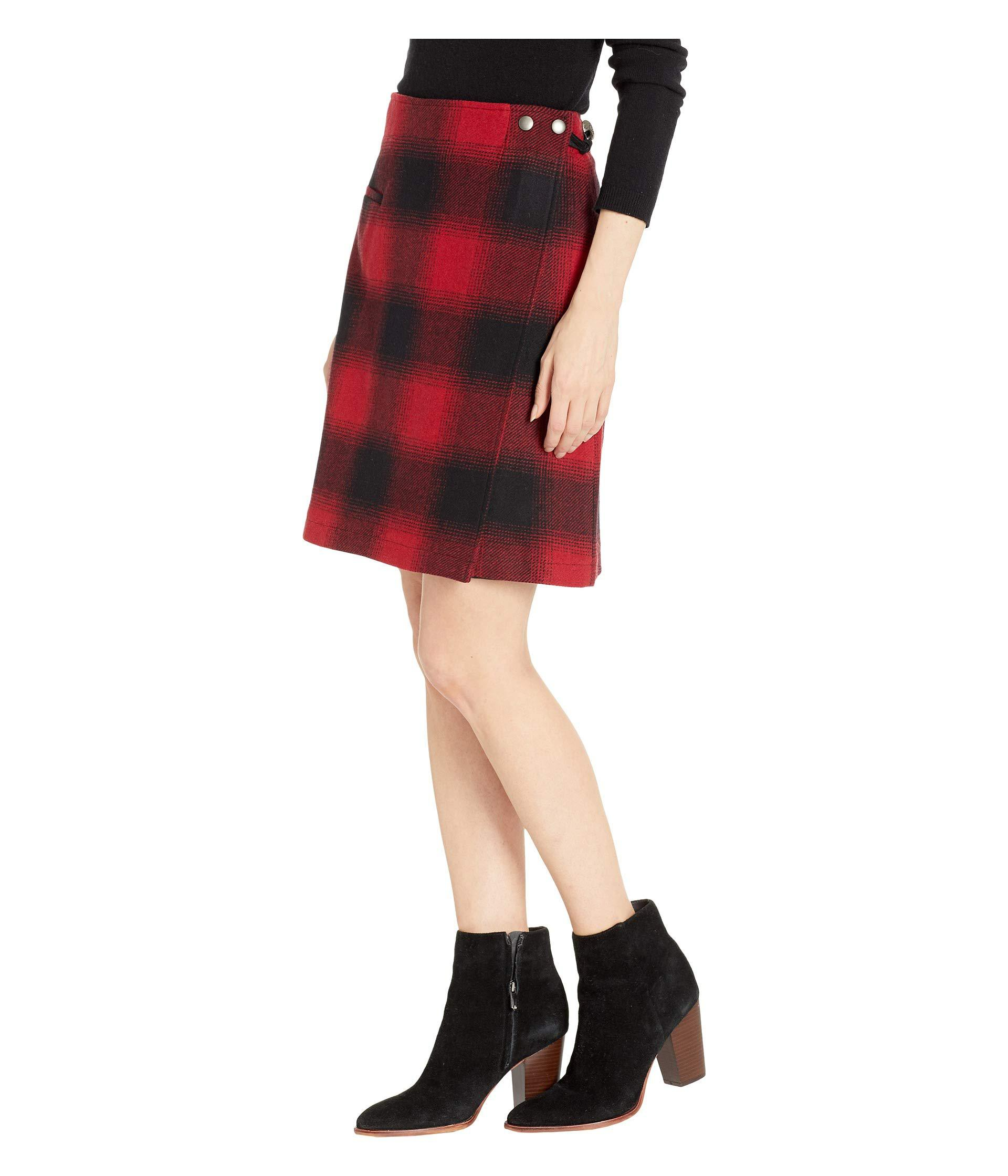 e96efcaab Lyst - Pendleton Aurora Wrap Skirt (red/black Ombre Check) Women's Skirt in  Red - Save 30%