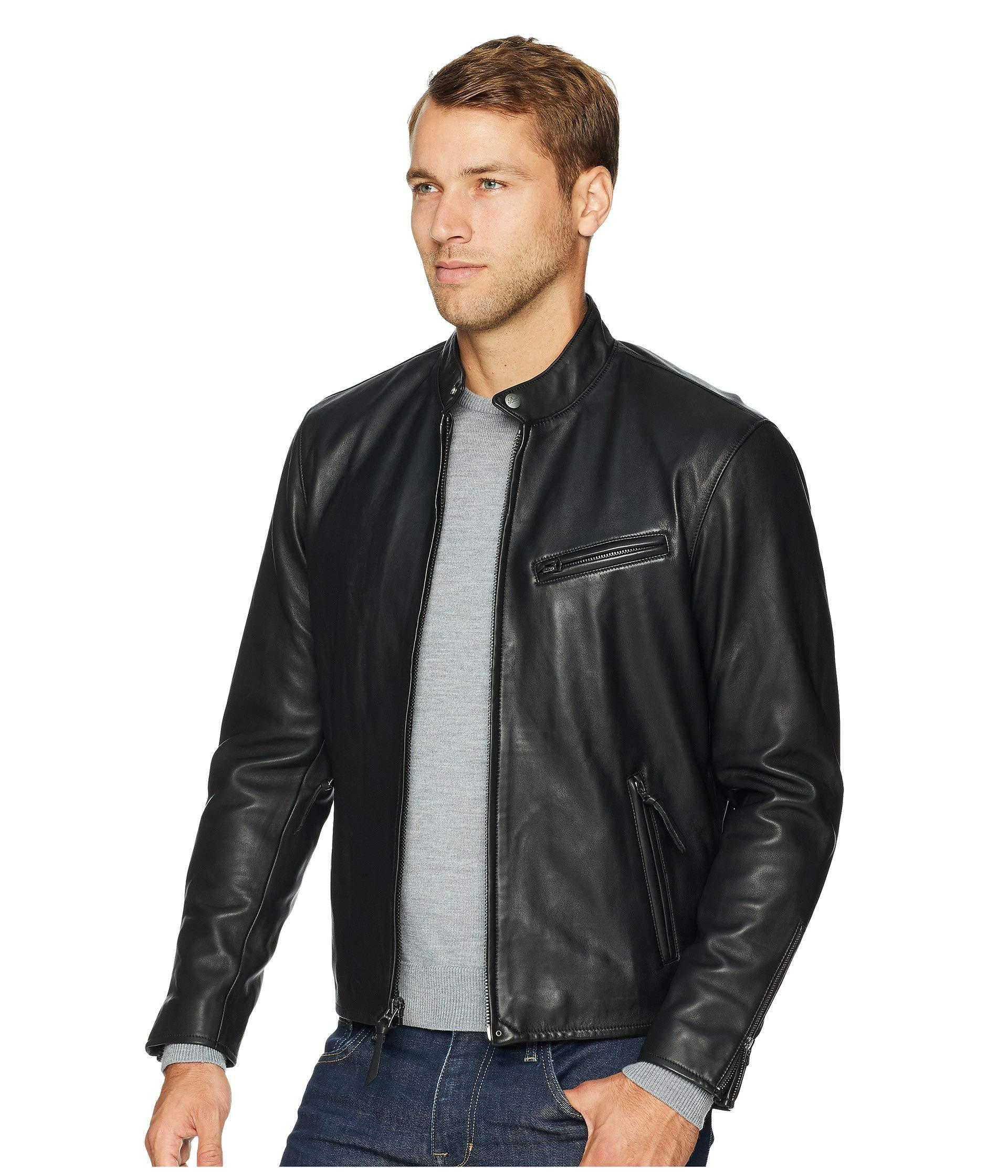 Lyst - Polo Ralph Lauren Cafe Racer Leather Jacket (old Amber) Men s Coat  in Black for Men cccacd3a066f7