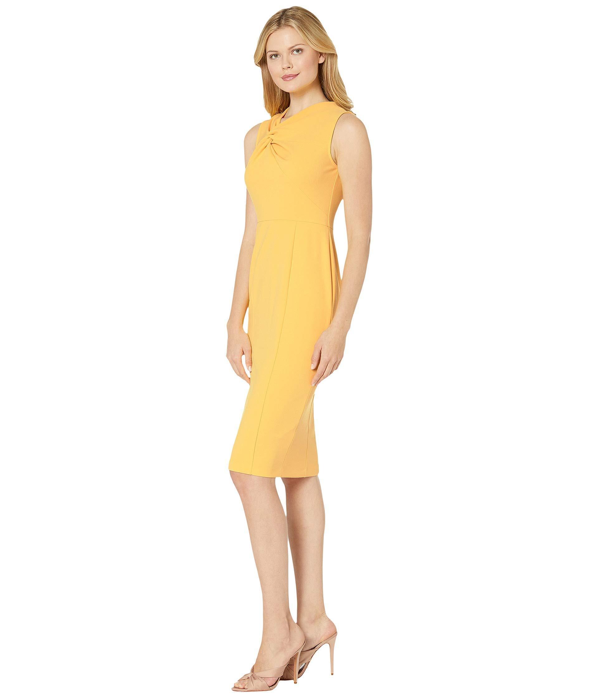 b3f8f785 Donna Morgan Sleeveless Crepe Sheath Dress (mimosa Yellow) Women's Dress in  Yellow - Lyst
