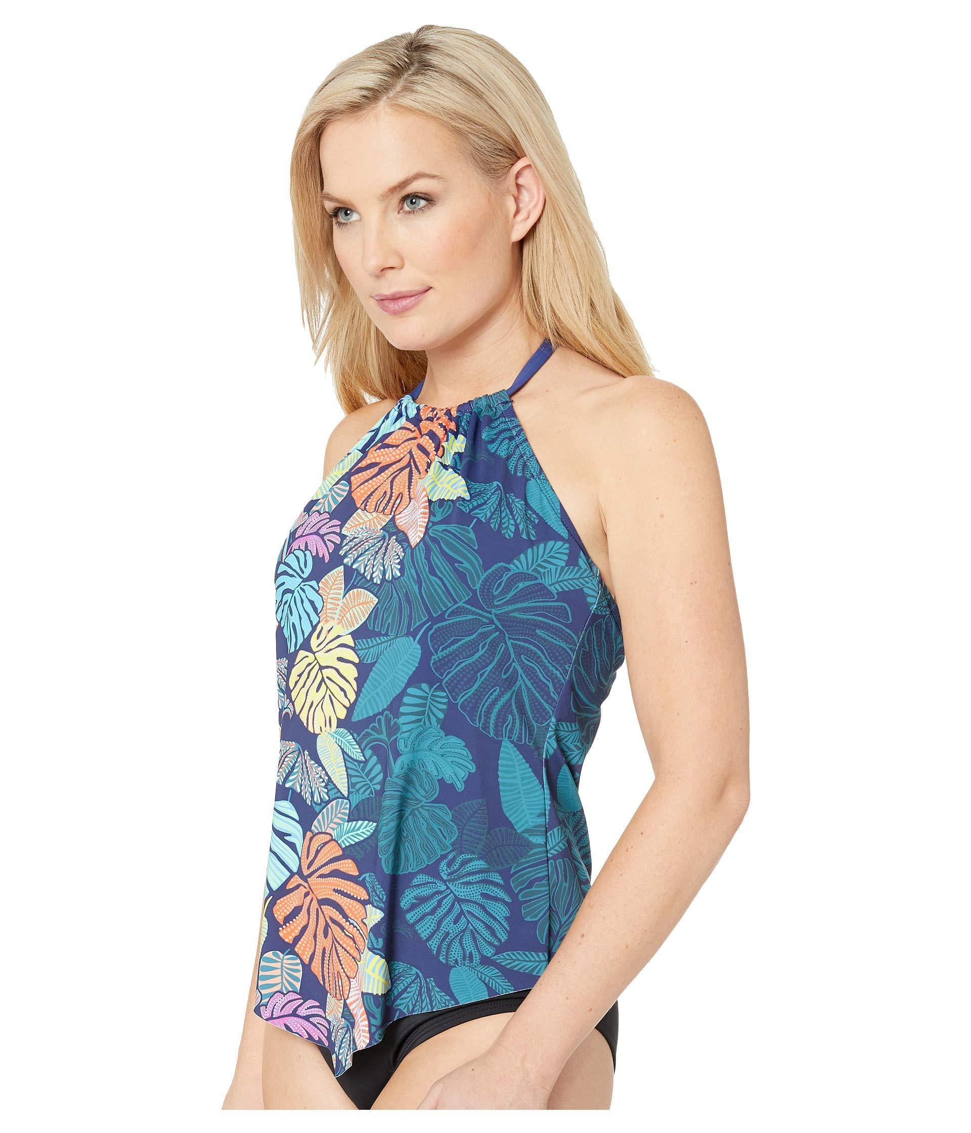 6a1fb2fae1 Lyst - 24th & Ocean Calm Palm High Neck Halter Tankini Top (navy) Women's  Swimwear in Blue