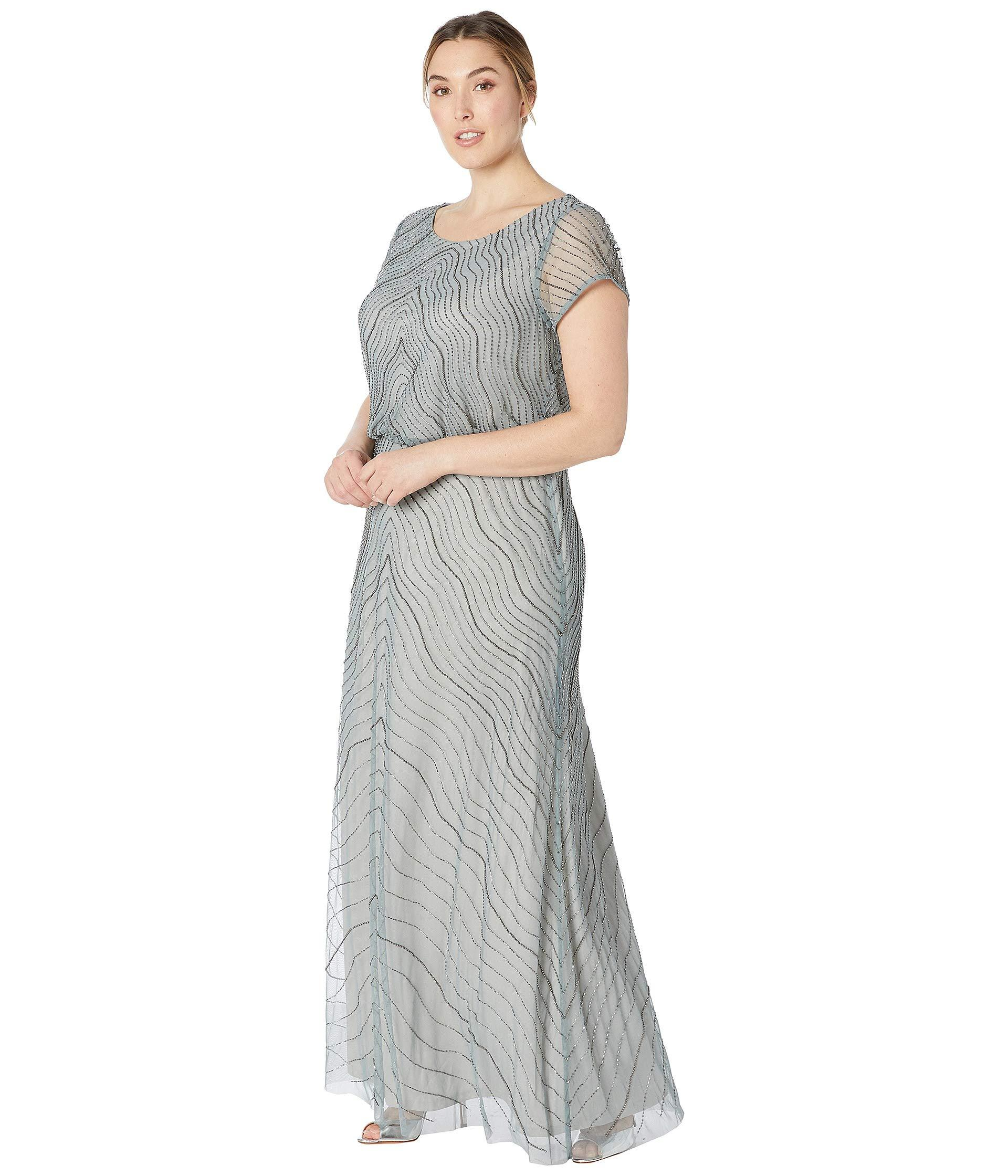 28650f39e9e Lyst - Adrianna Papell Plus Size Beaded Blouson Cap Sleeve Evening Gown  (slate) Women s Dress in Gray