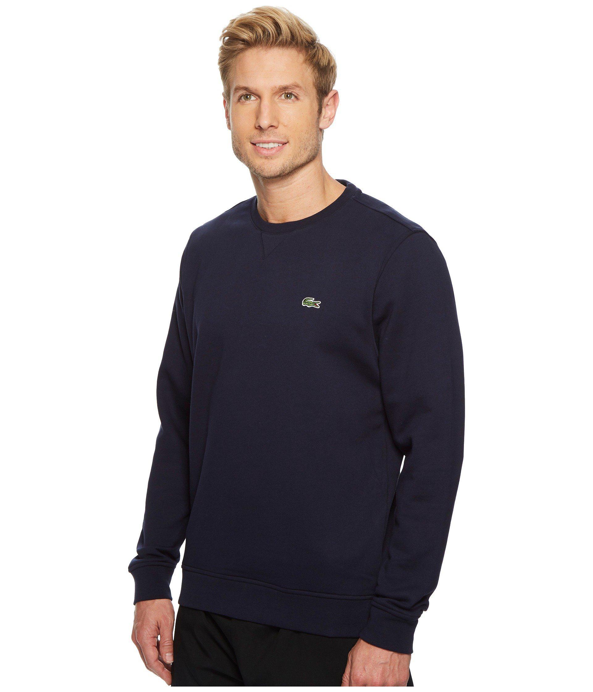 7a93fc647f Lacoste Sport Crew Neck Fleece Sweatshirt (black) Men's Sweatshirt in Blue  for Men - Lyst