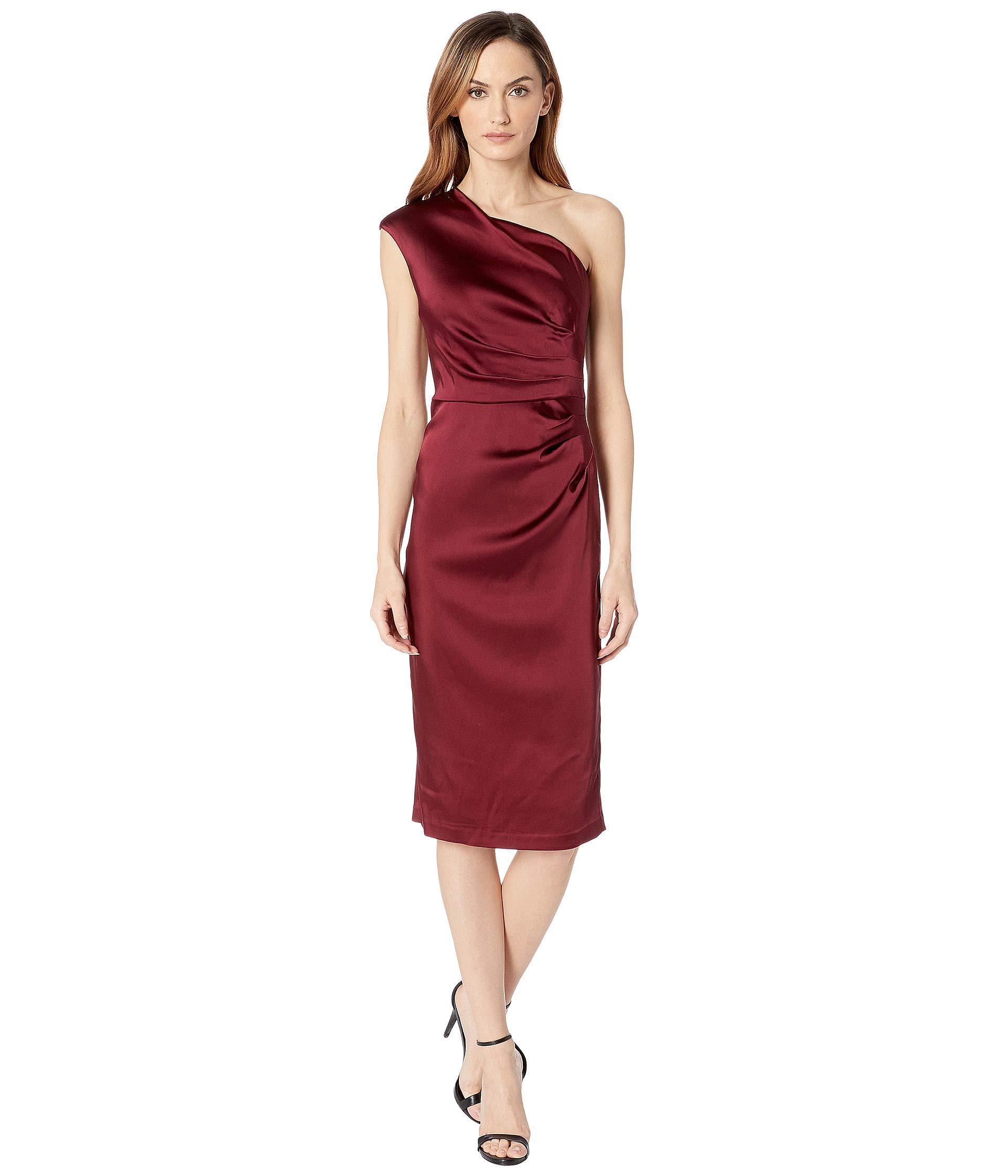 36b89c2a01c Lyst - Adrianna Papell Stretch Satin Short Dress (garnet) Women s ...