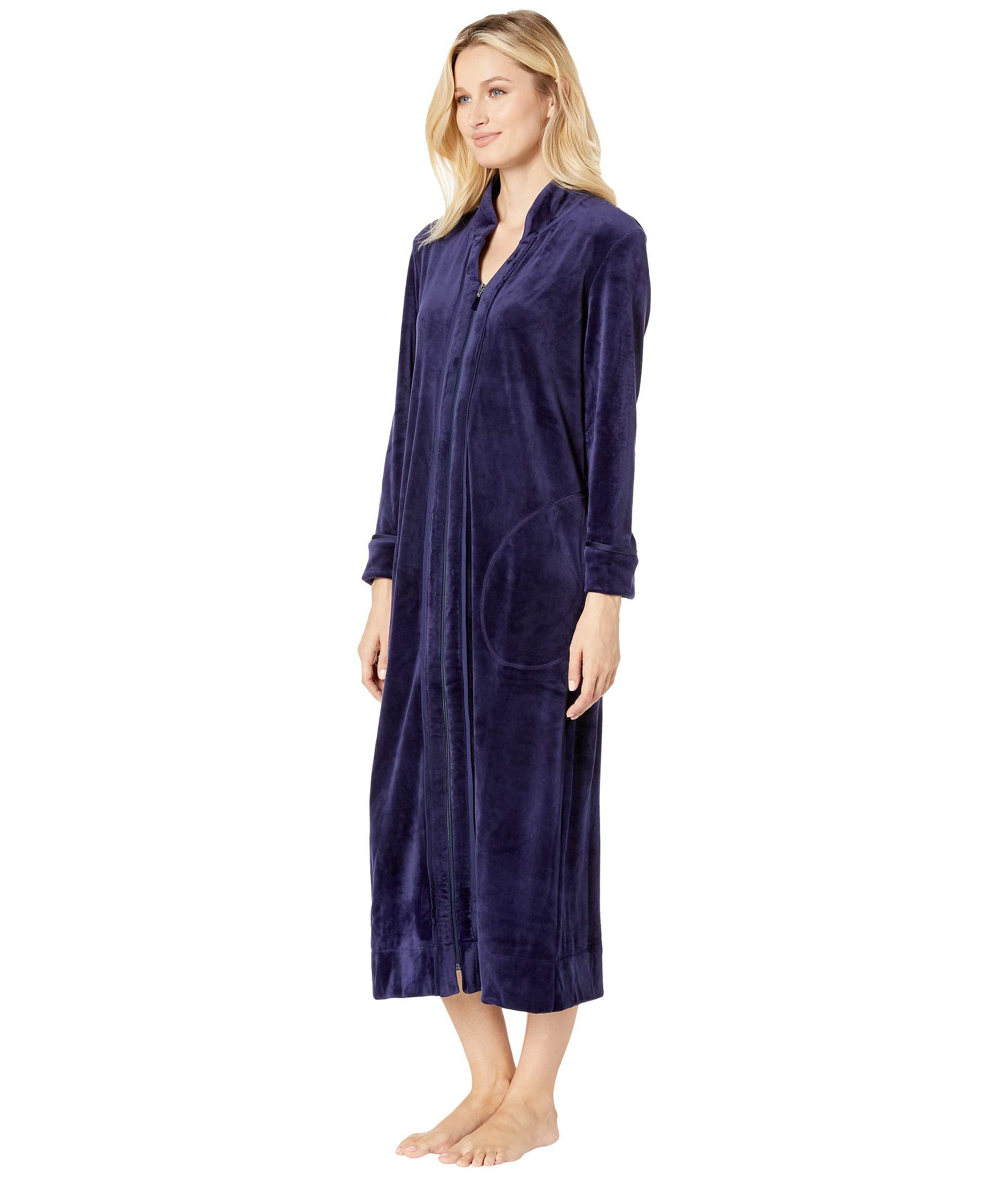 Lyst - Carole Hochman Plush Luxe Velour Long Zip Robe (navy) Women s Robe  in Blue d512deecb
