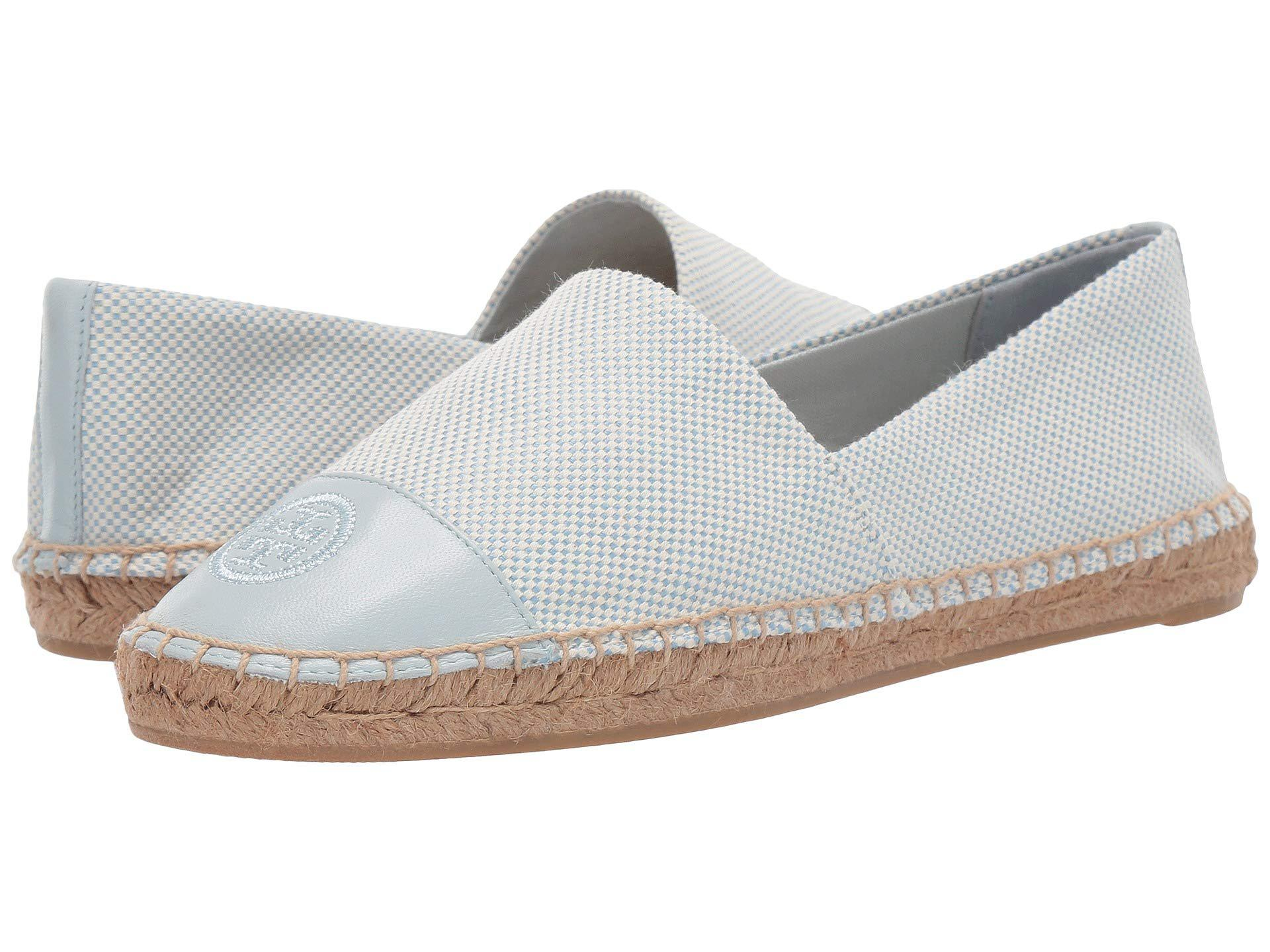 6172796238a1c0 Tory Burch - White Color Block Flat Espadrille (denim Chambray) Women s  Shoes - Lyst. View fullscreen