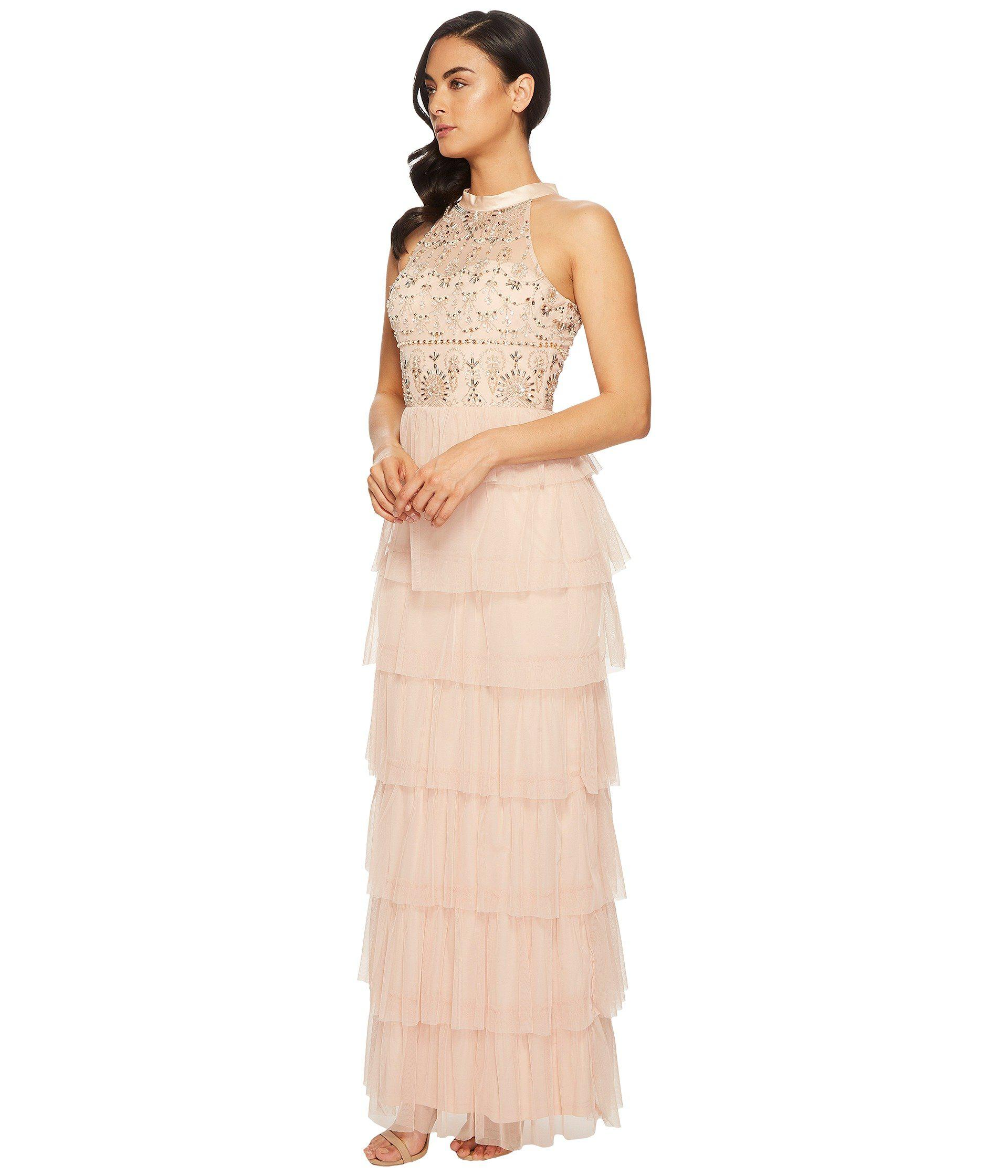 Lyst - Adrianna Papell Long Fuffle Boho Halter Gown With Beaded ...