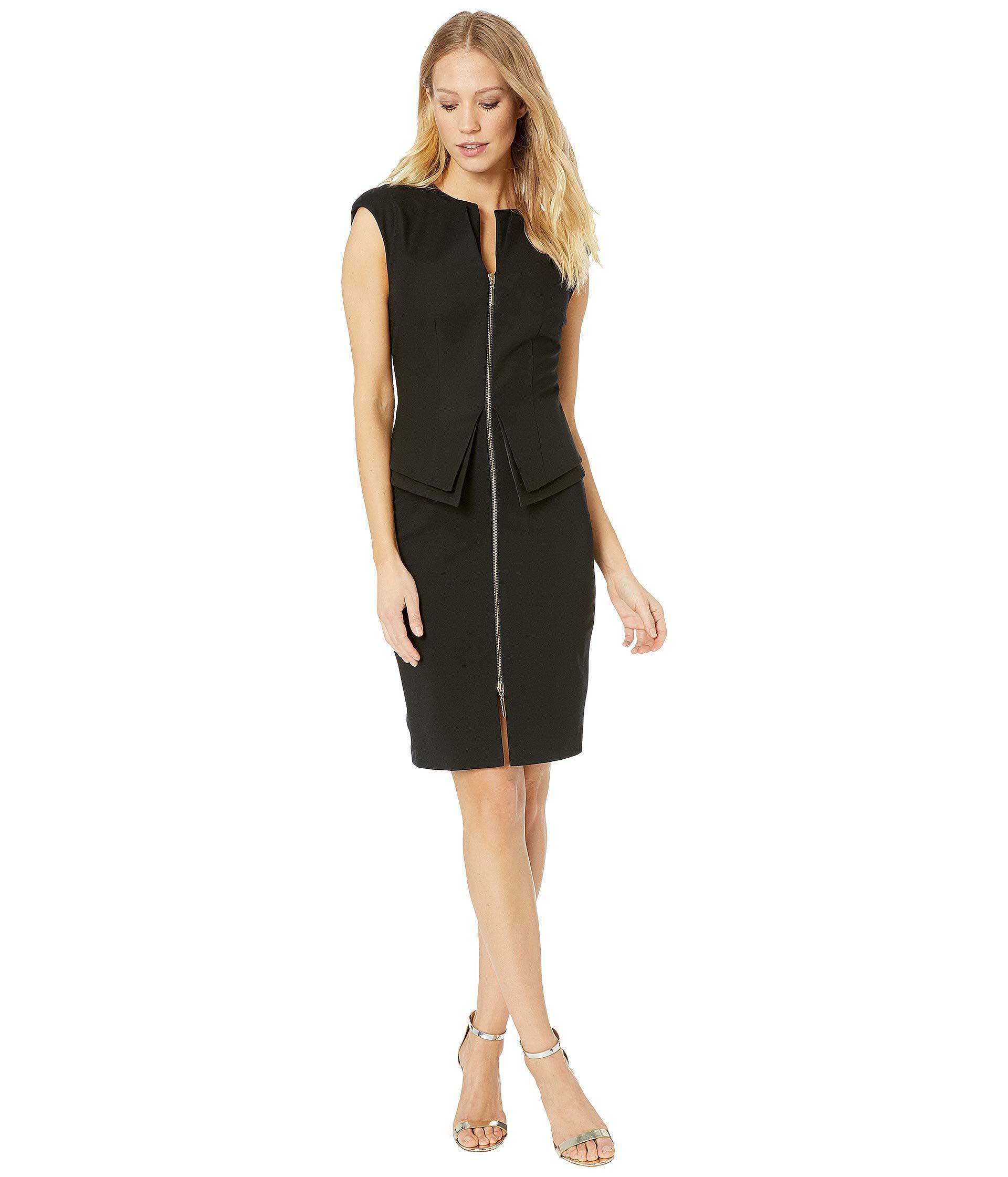a72d699f315488 Lyst - Ted Baker Structured Zip Peplum Dress (black) Women s ...